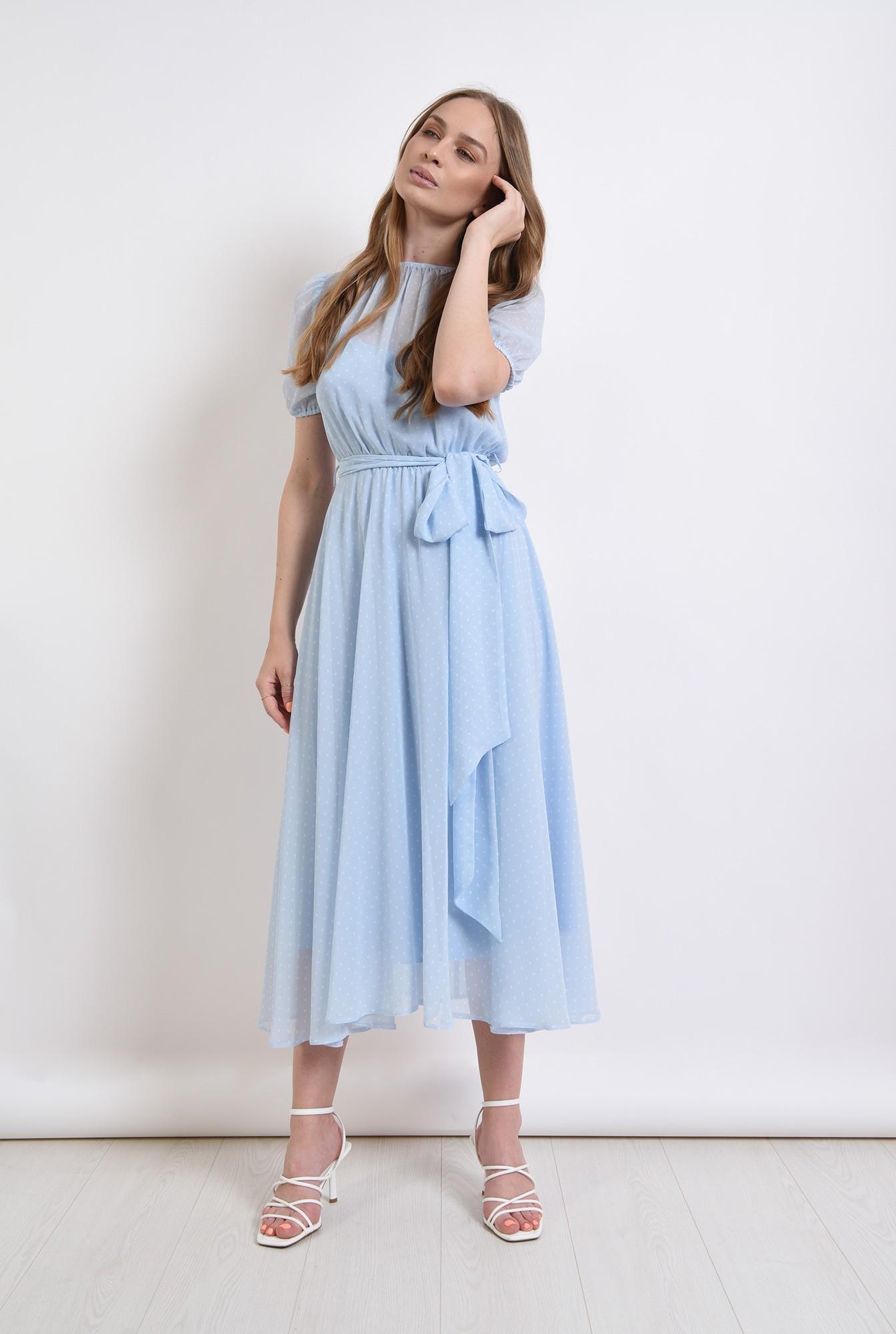 1 - rochie bleu, din voal, cu imprimeu