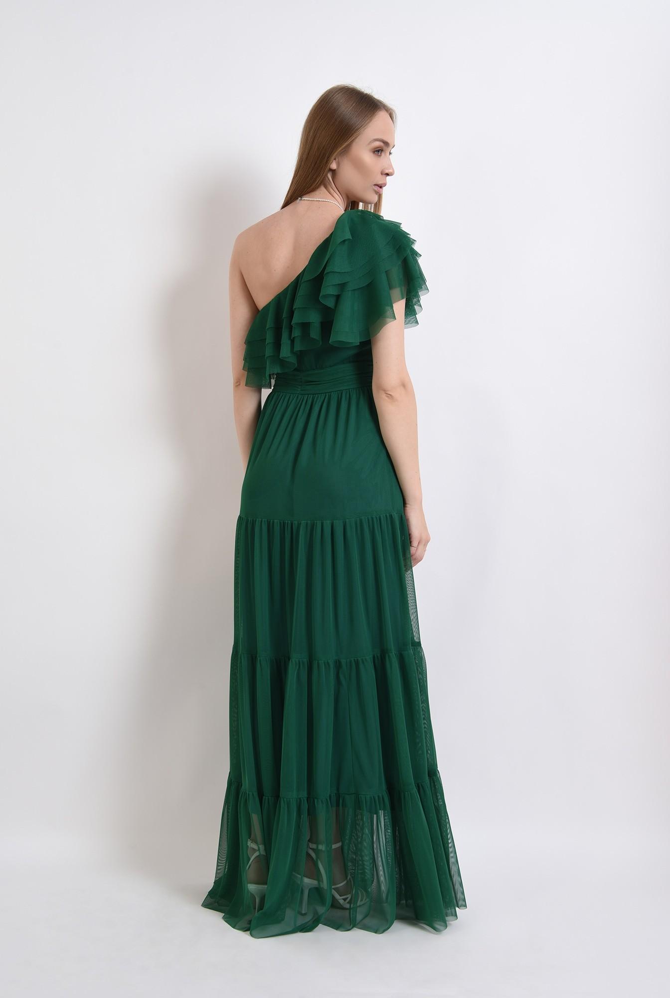 1 - rochie din tul, verde, cu decolteu asimetric