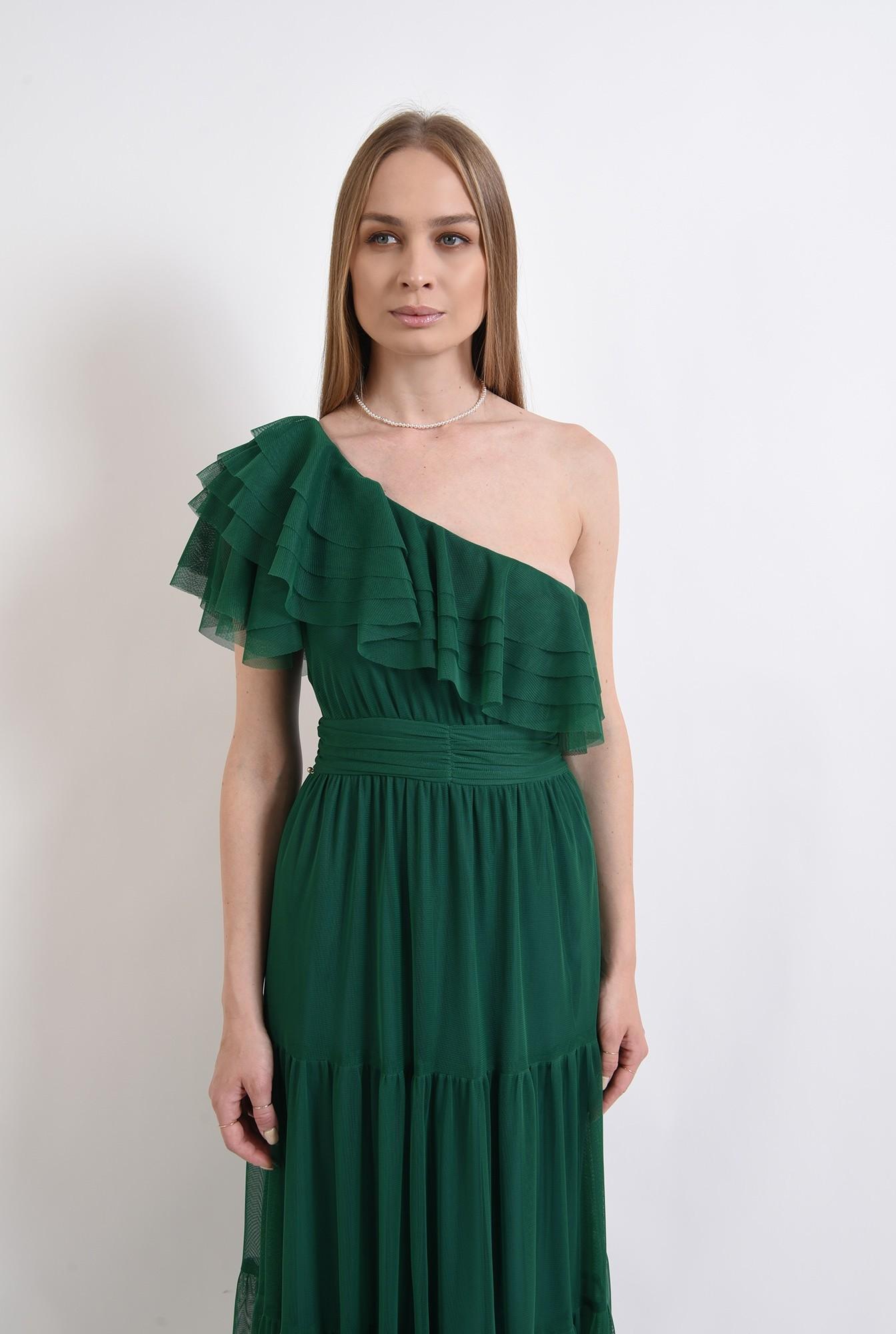 2 - rochie din tul, verde, cu decolteu asimetric