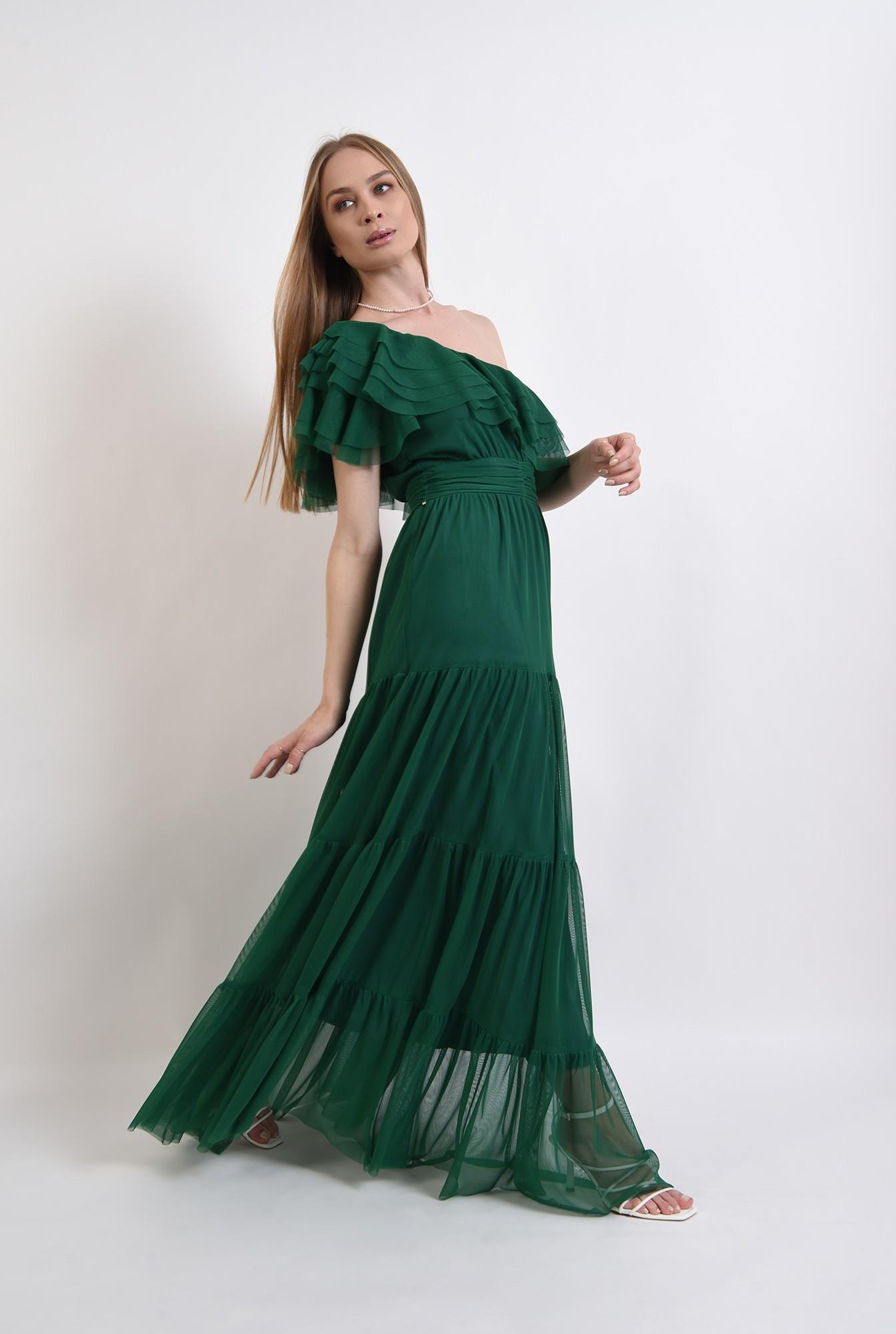 0 - rochie din tul, verde, cu decolteu asimetric