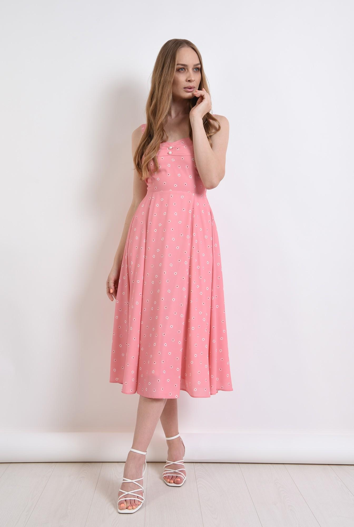 1 - rochie roz, cu print floral, cu nasturi perla
