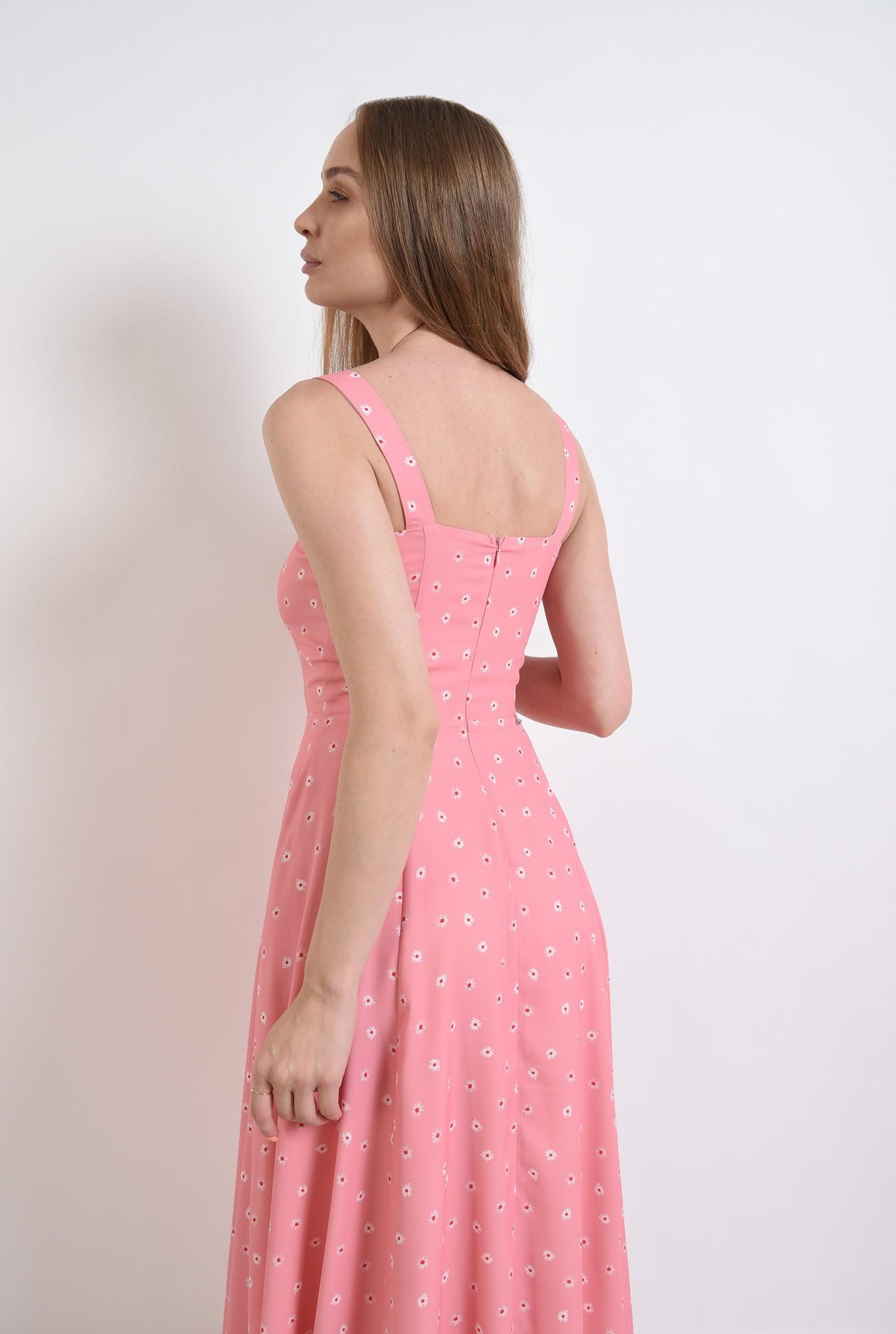 2 - rochie roz, cu print floral, cu nasturi perla
