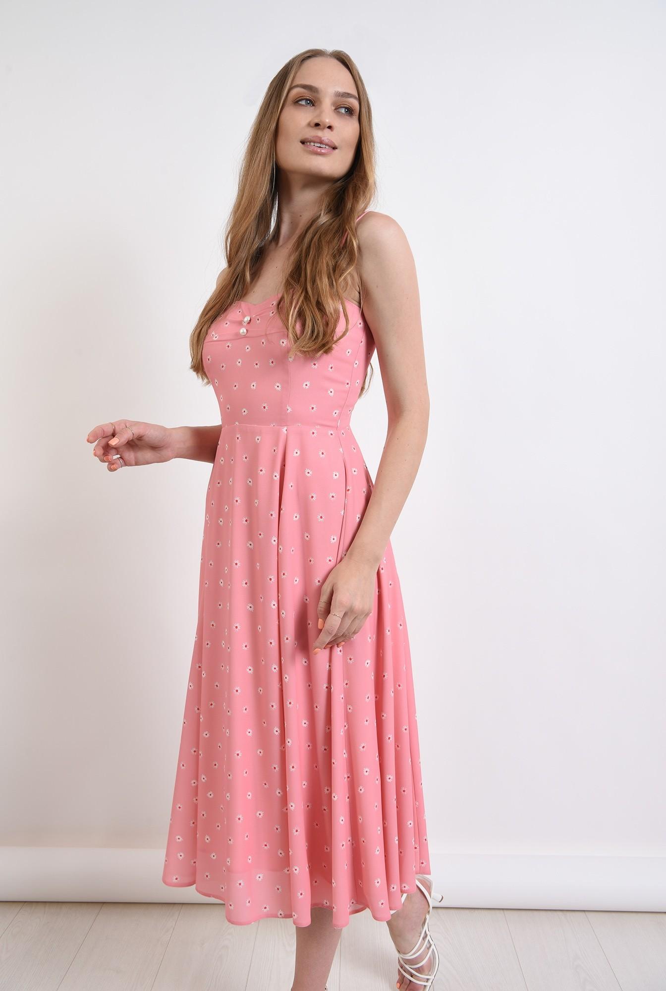 0 - rochie roz, cu print floral, cu nasturi perla