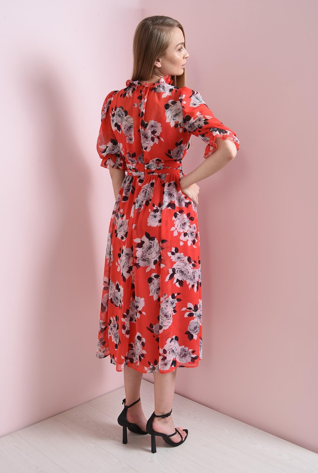 1 - rochie de vara, cu guler inalt, cu flori