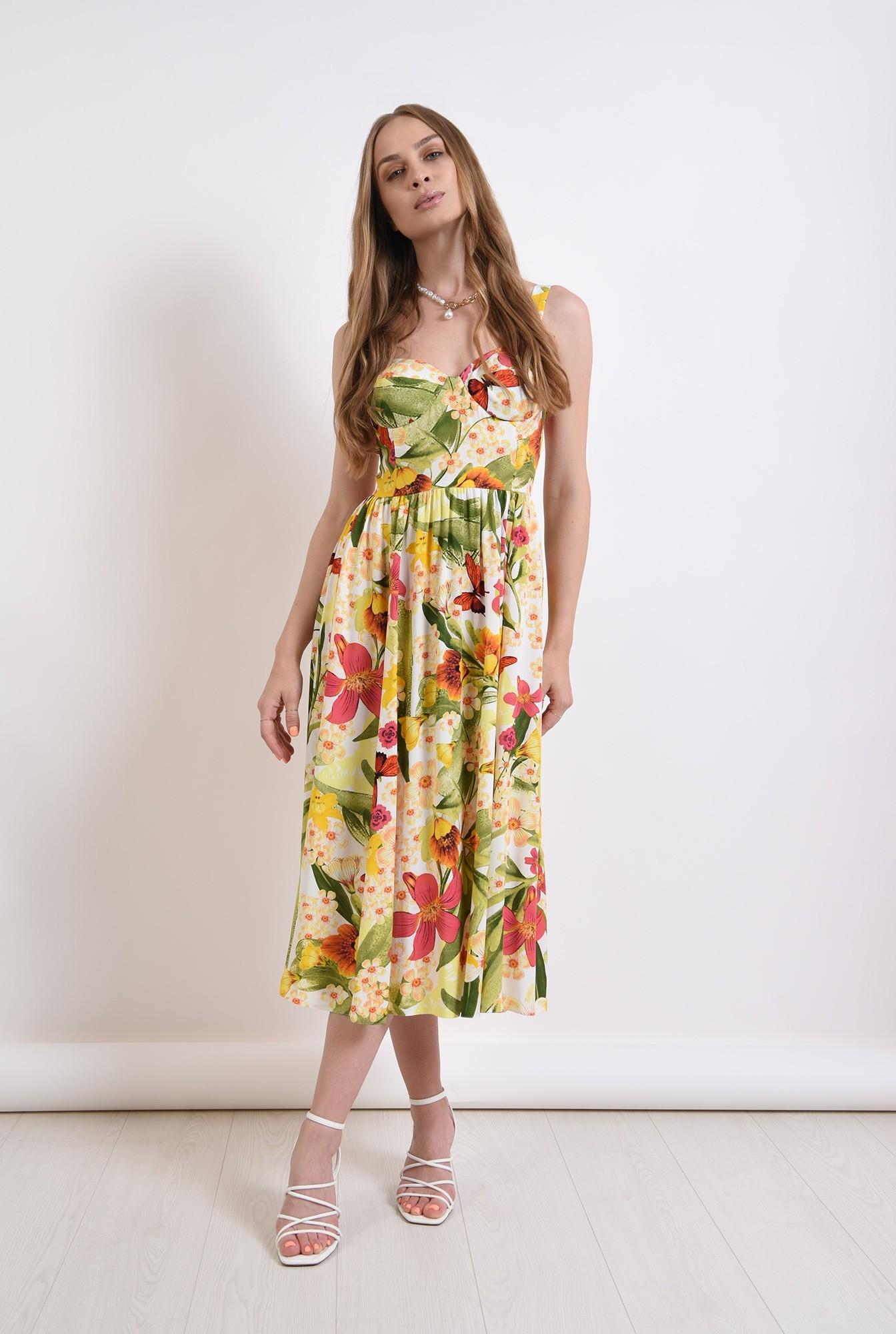 0 - rochie midi, cu imprimeu floral, evazata
