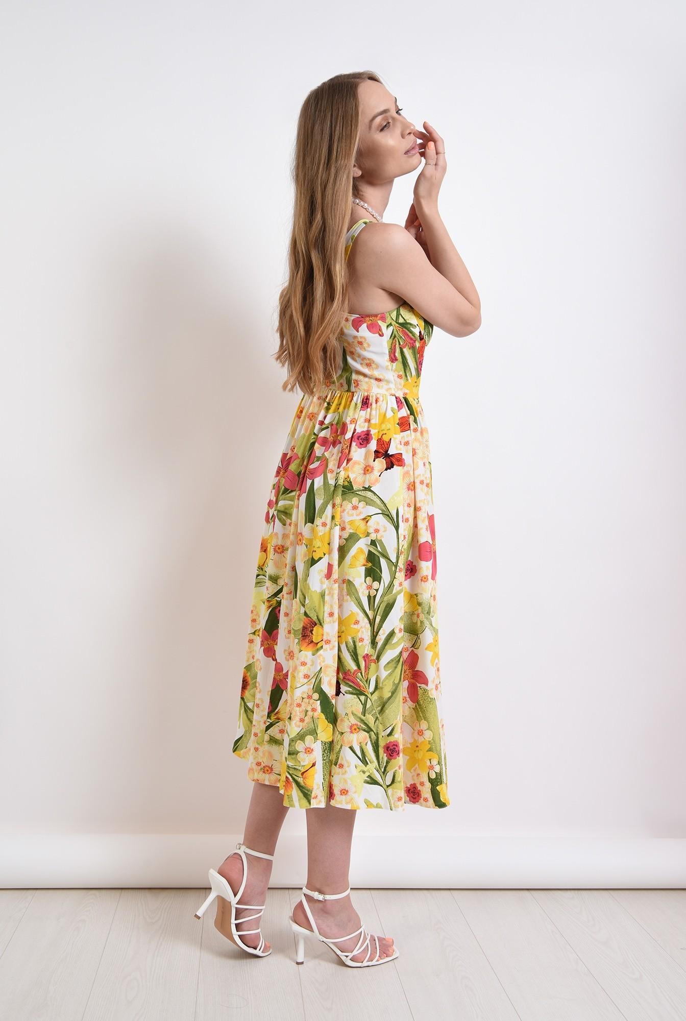 2 - rochie midi, cu imprimeu floral, evazata