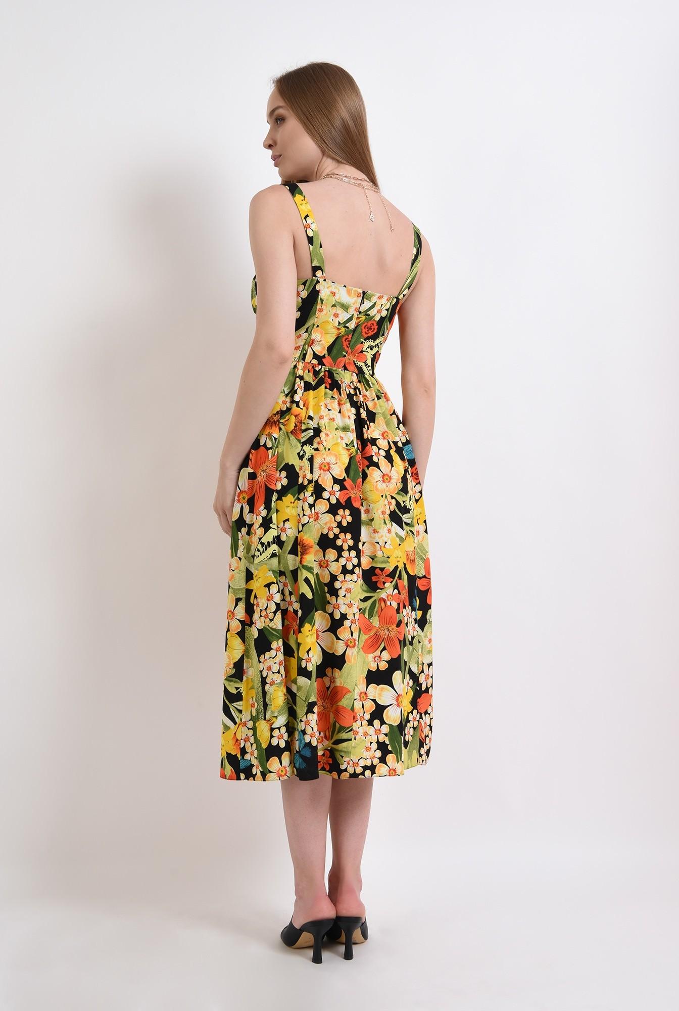 2 - rochie midi, evazata, cu flori