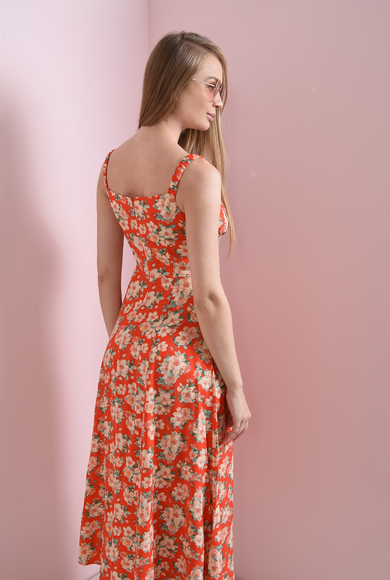 1 - rochie casual, de vara, cu flori, cu bretele