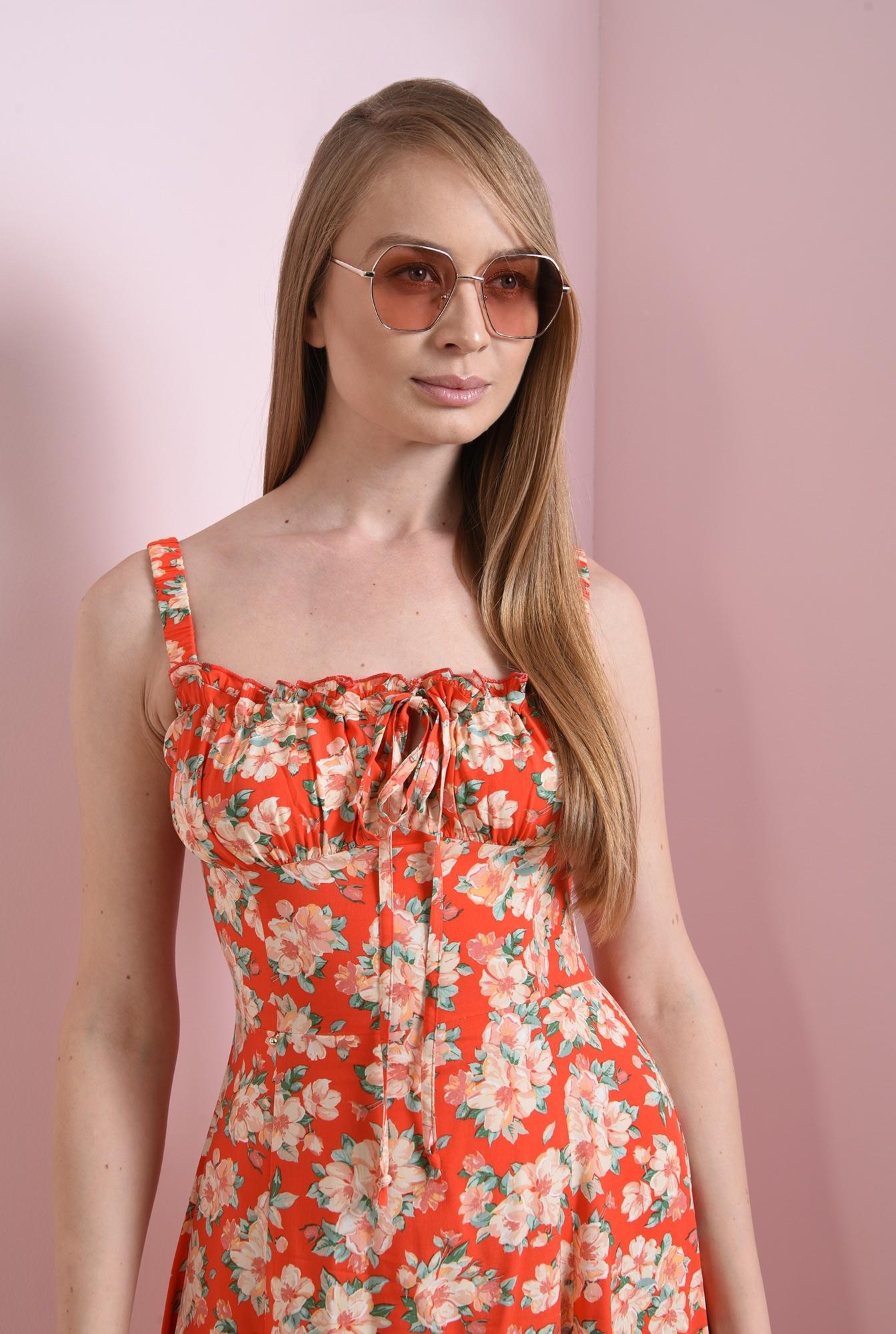 2 - rochie casual, de vara, cu flori, cu bretele