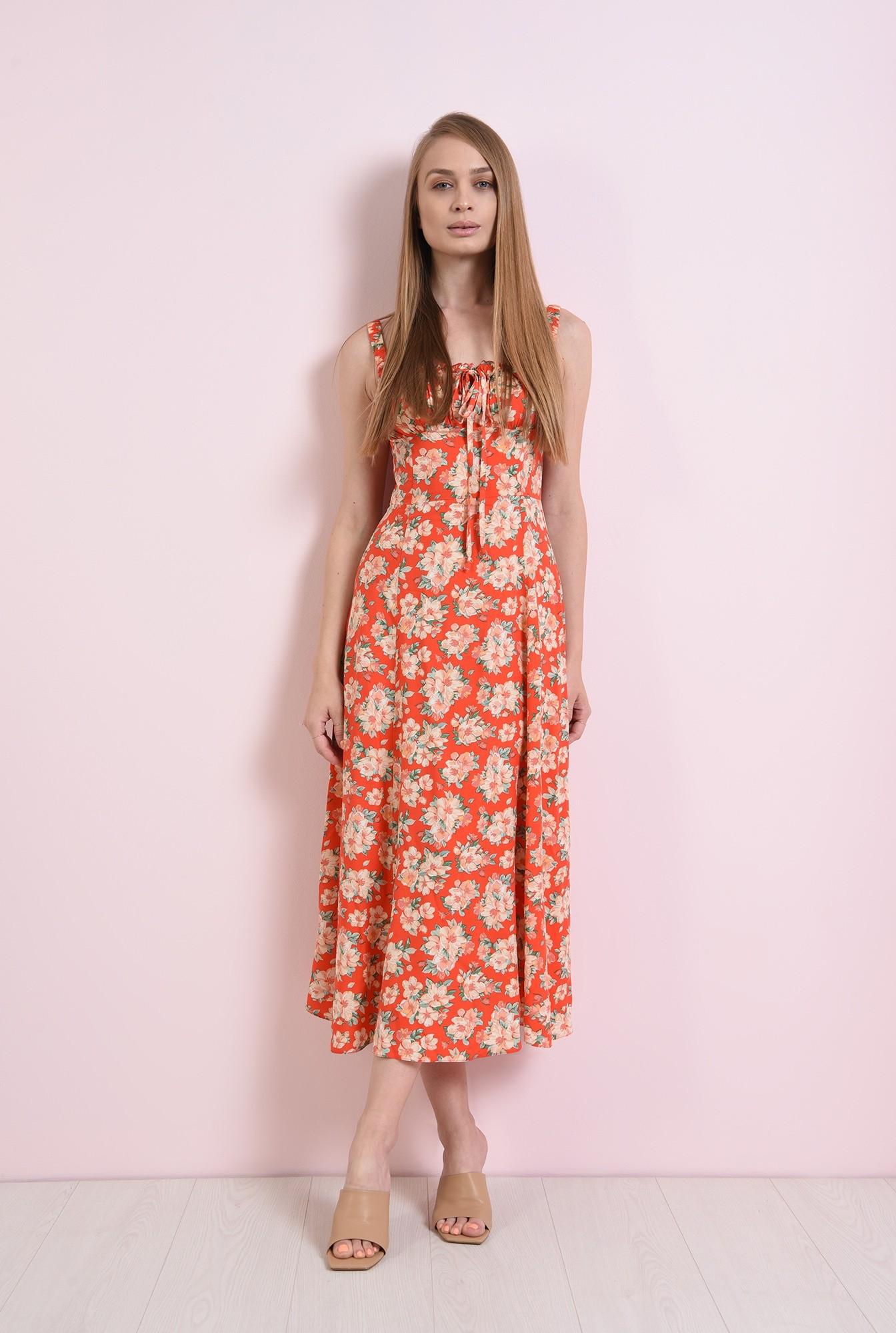 0 - rochie casual, de vara, cu flori, cu bretele