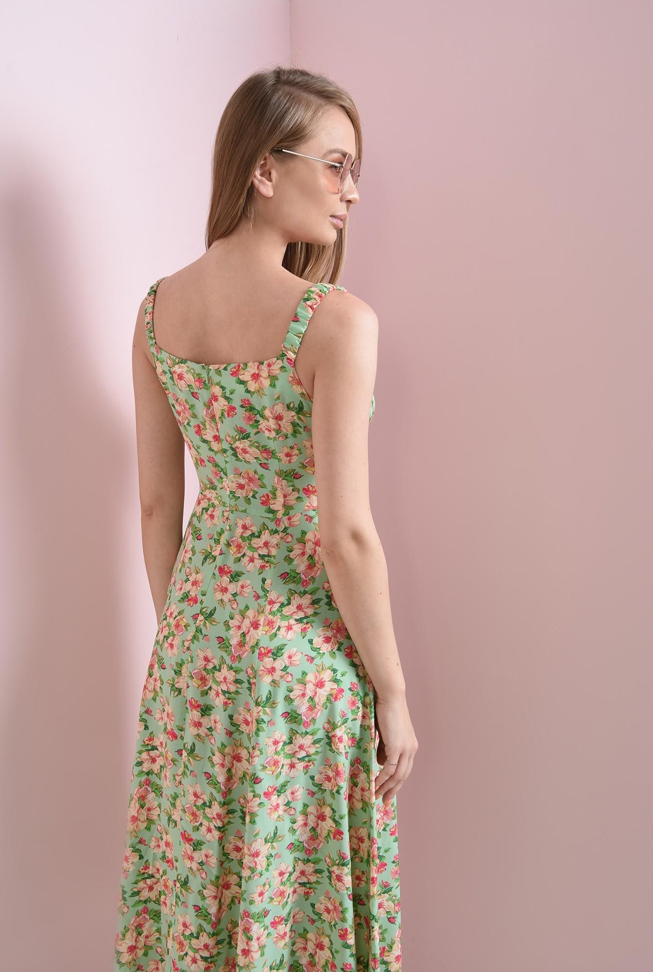 2 - rochie casual, cu motive florale, cu decolteu incretit