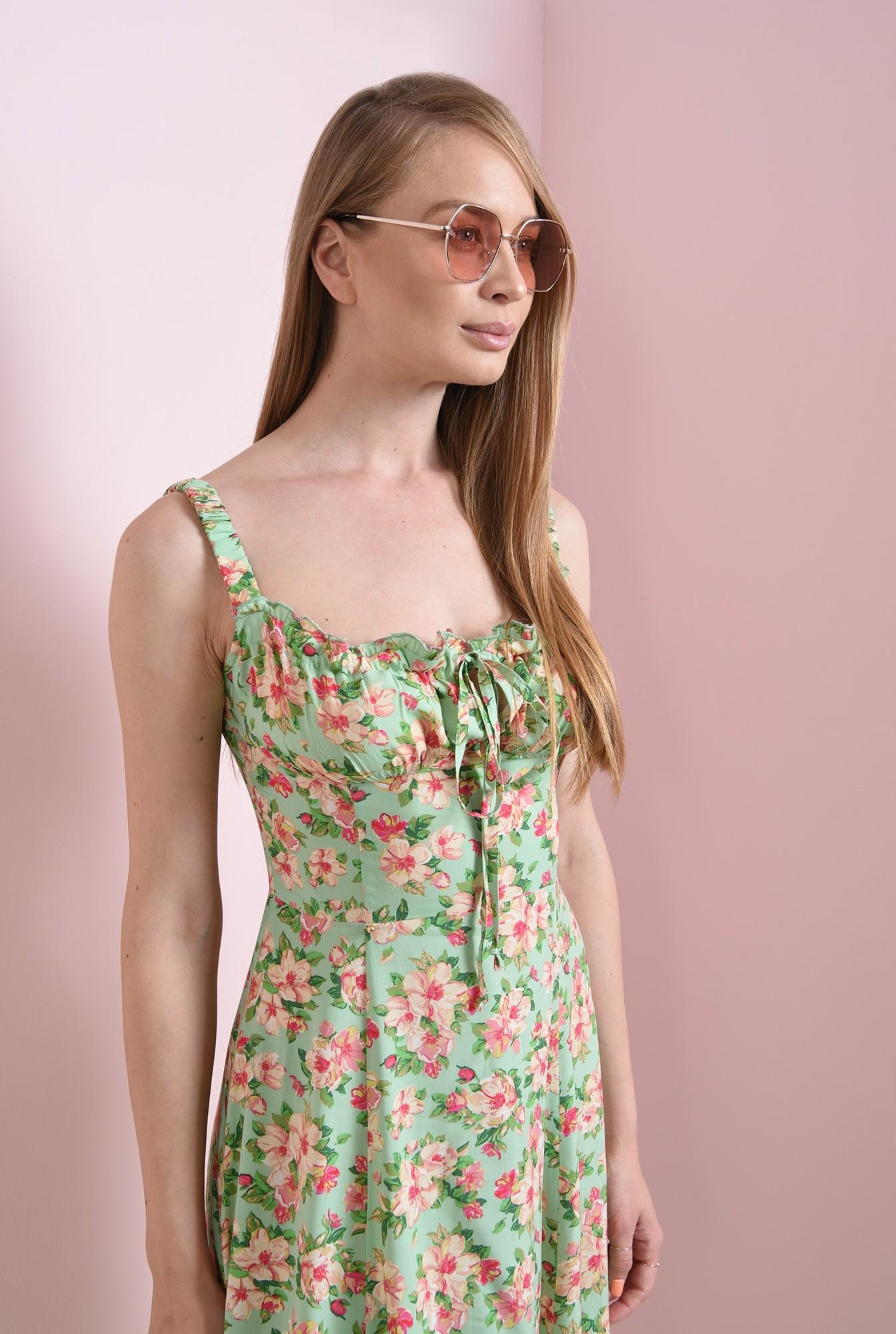 1 - rochie casual, cu motive florale, cu decolteu incretit