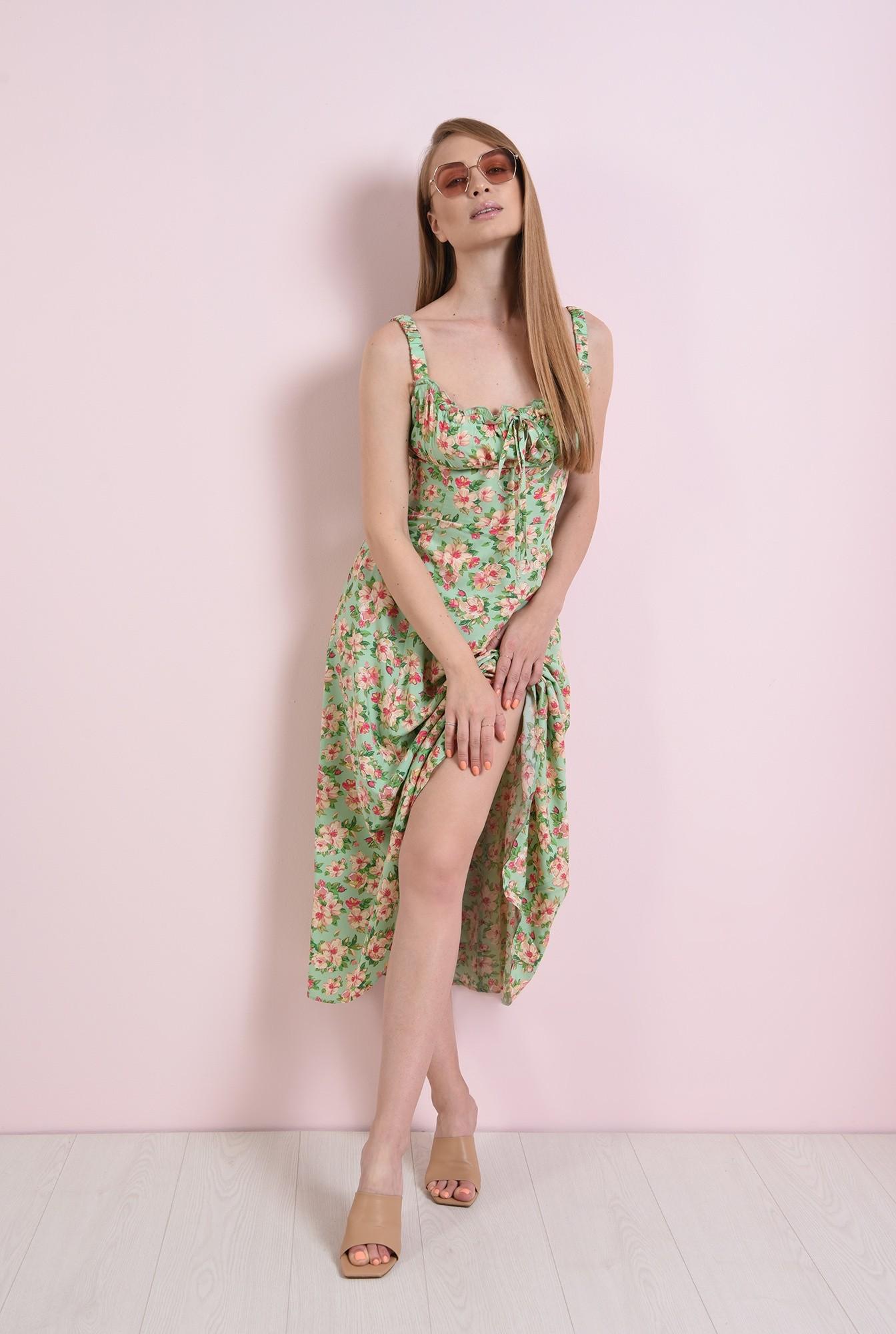 0 - rochie casual, cu motive florale, cu decolteu incretit