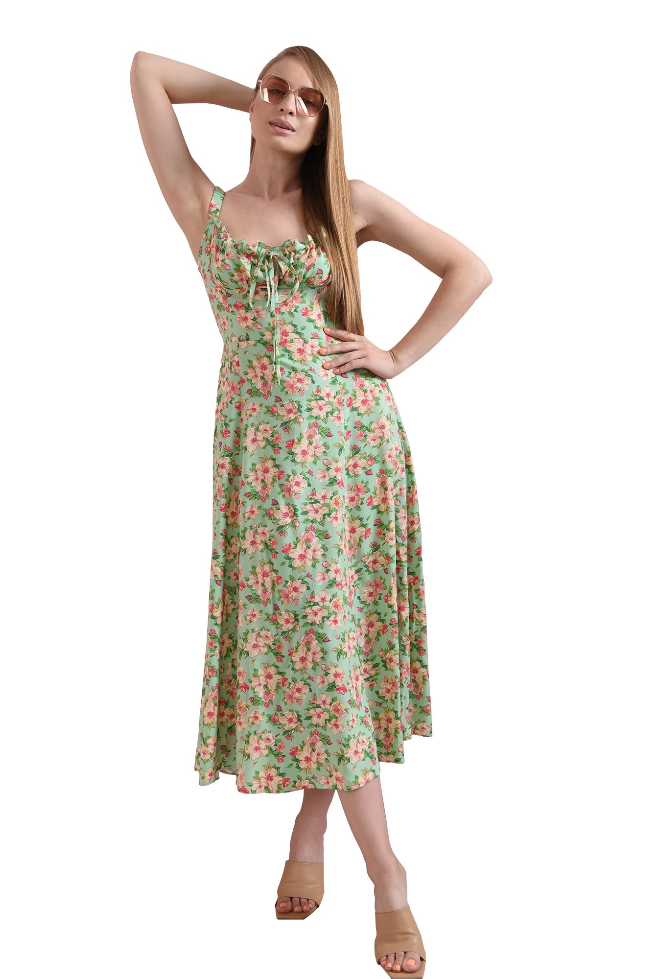 3 - rochie casual, cu motive florale, cu decolteu incretit