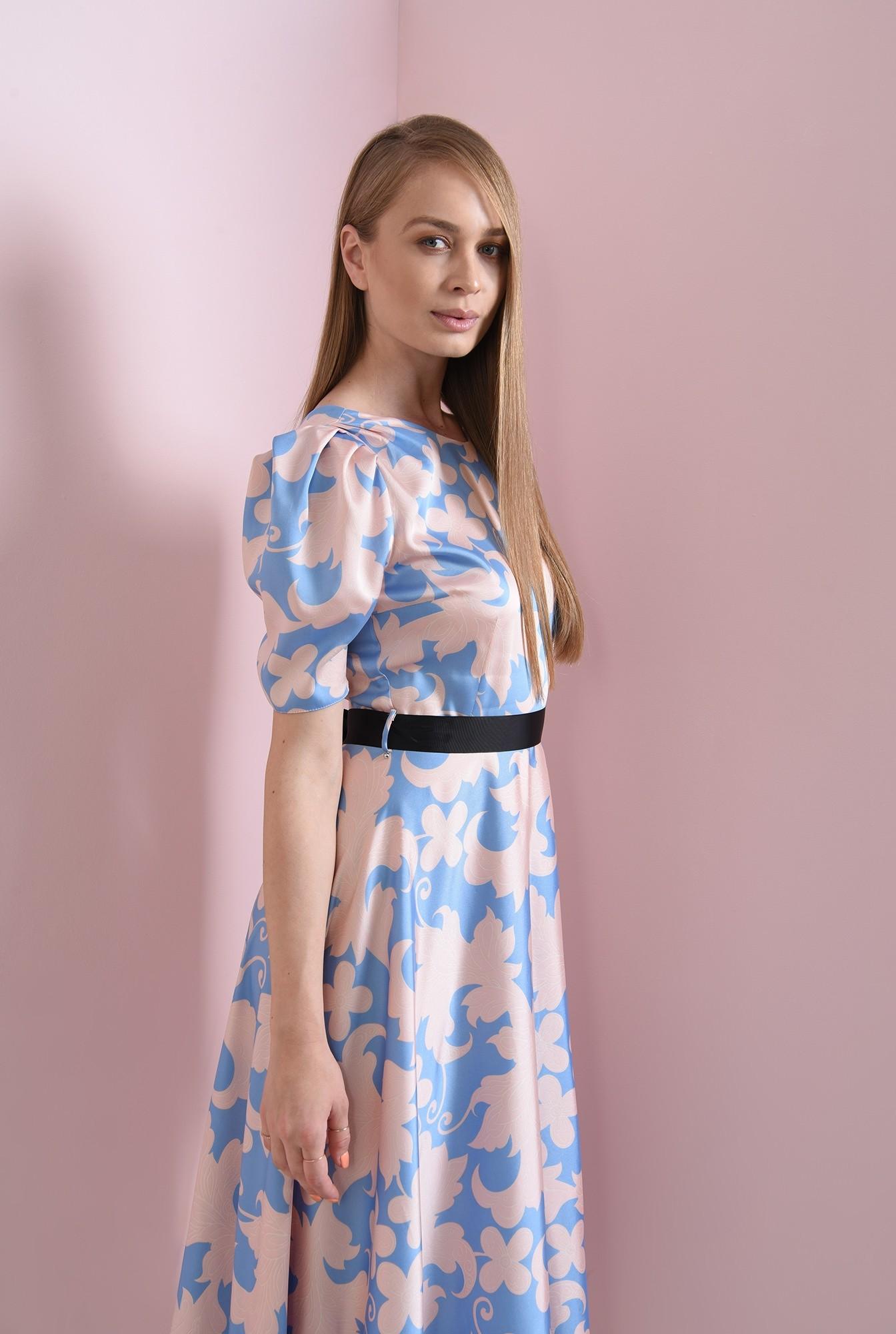2 - rochie evazata, bleu, cu flori