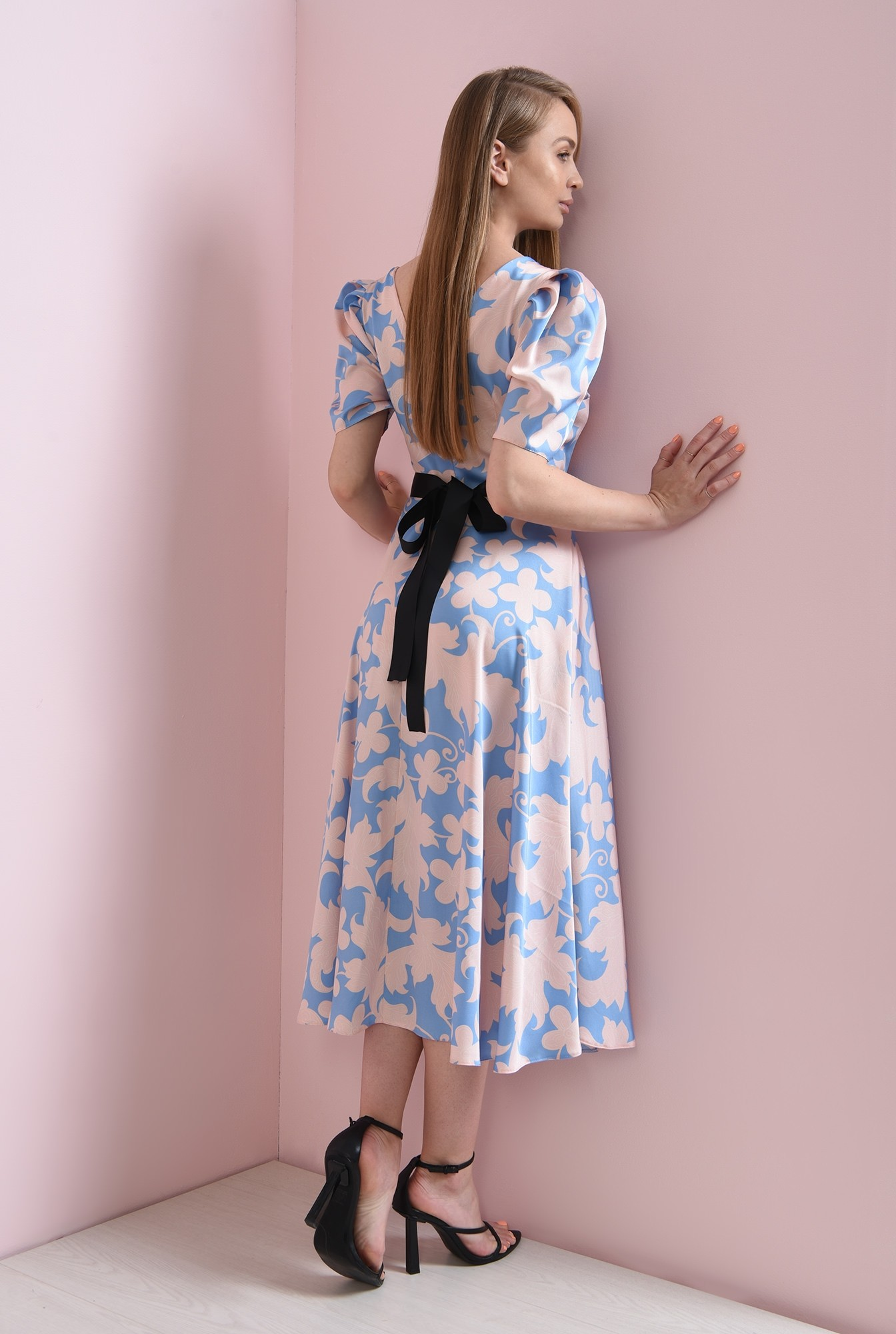1 - rochie evazata, bleu, cu flori