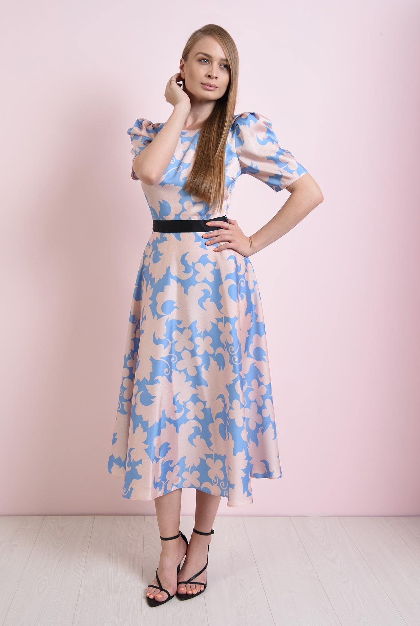 0 - rochie evazata, bleu, cu flori