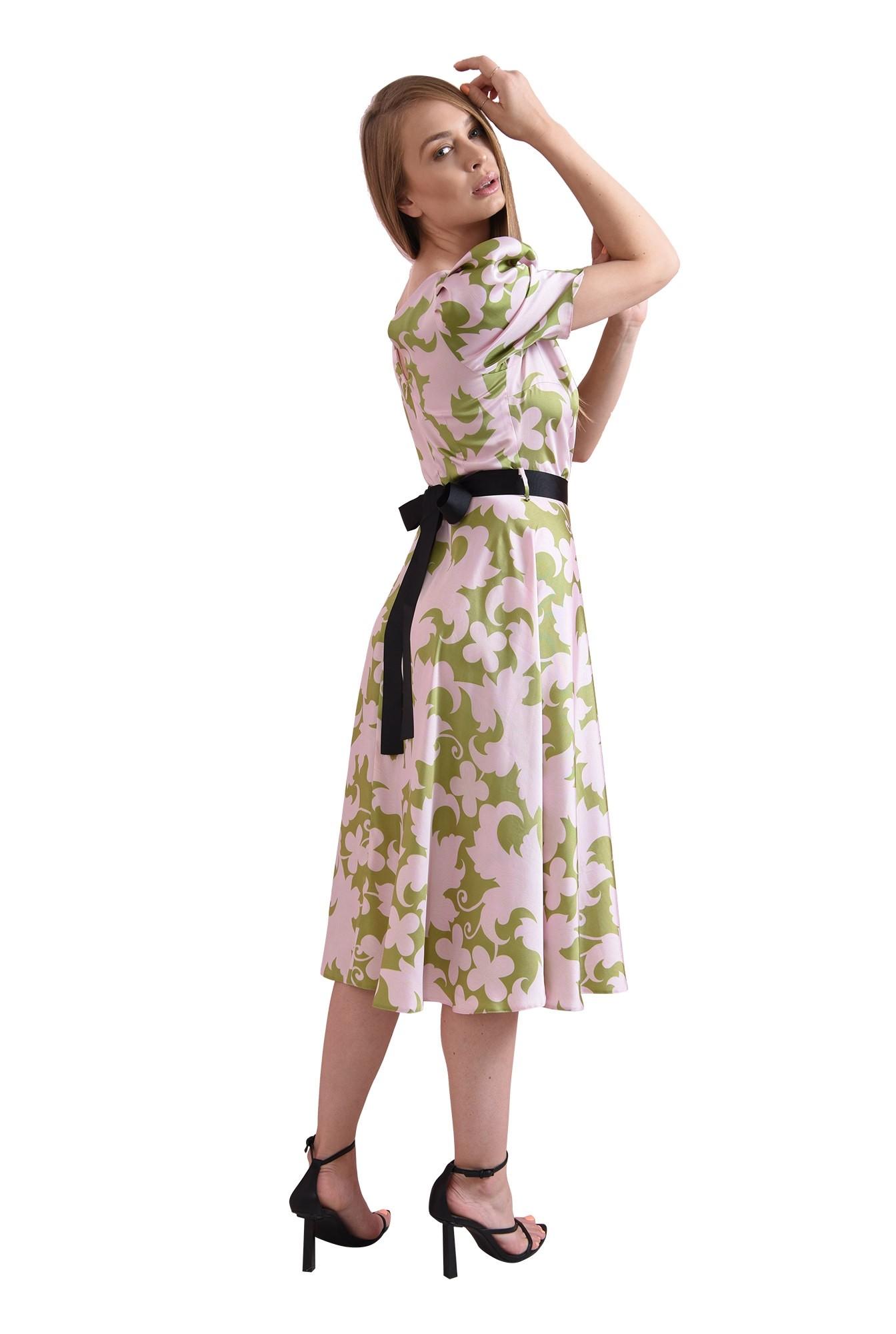 3 - rochie din satin, midi, evazata
