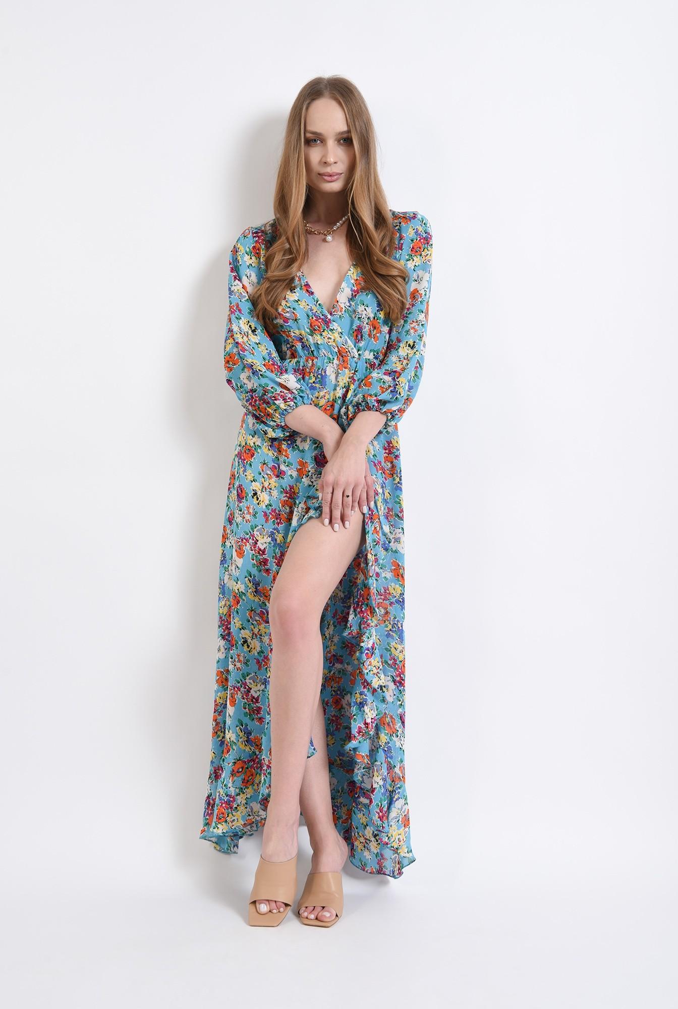 1 - rochie cu motive florale, cu maneca voluminoasa