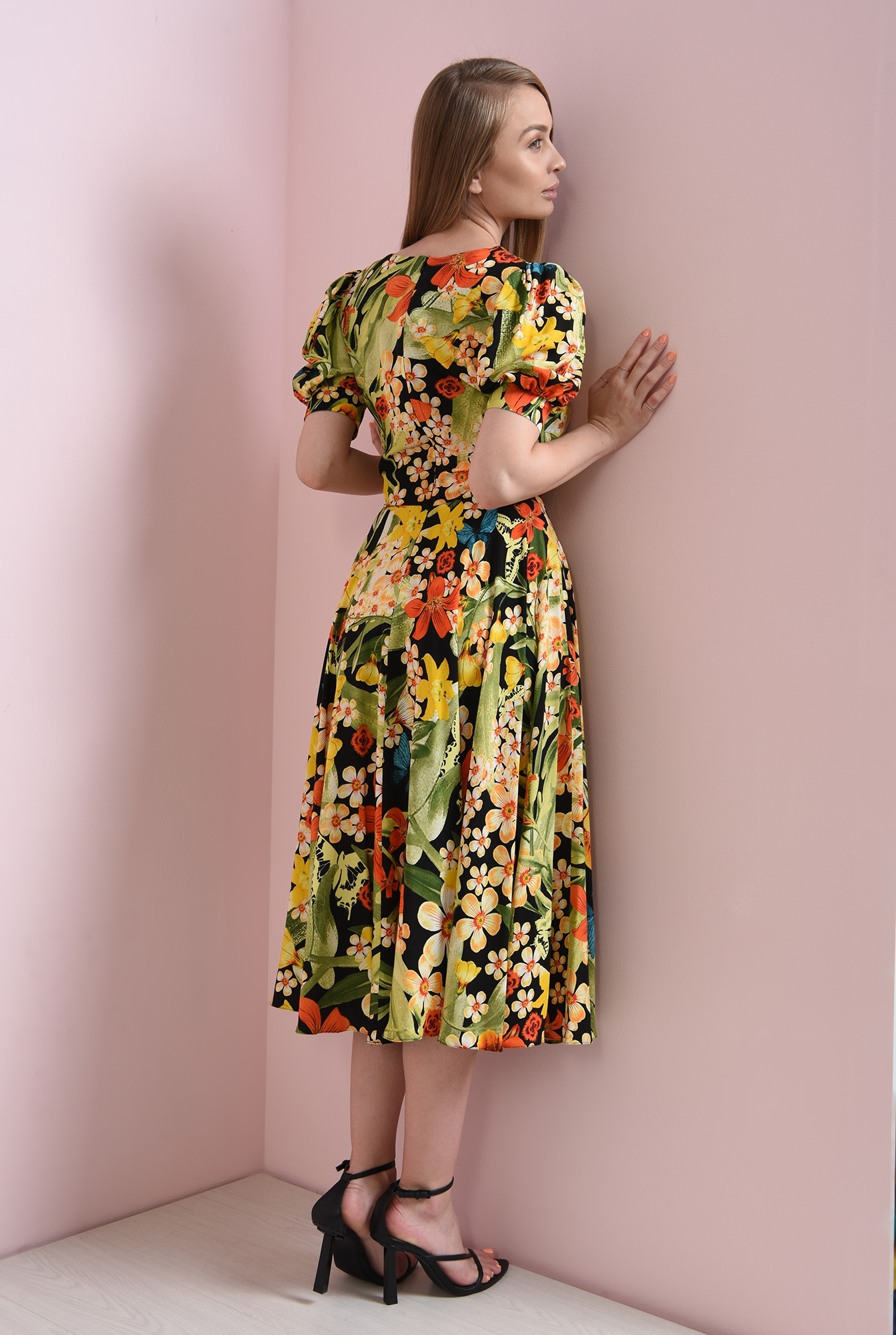 1 - rochie cu imprimeu, evazata, Poema