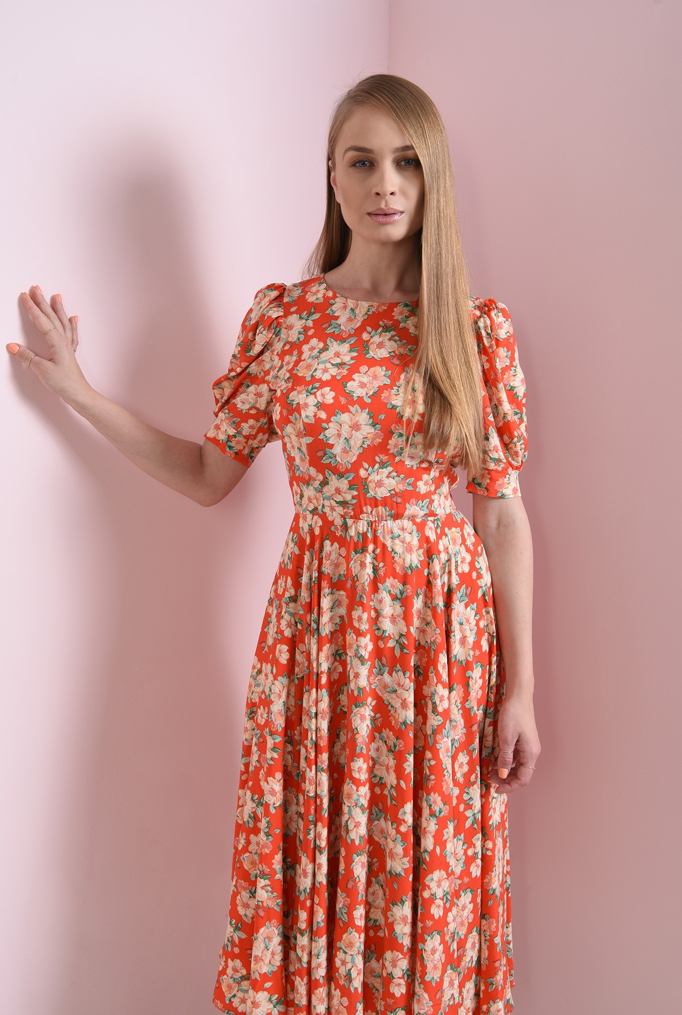 2 - rochie rosie, cu flori, evazata, Poema