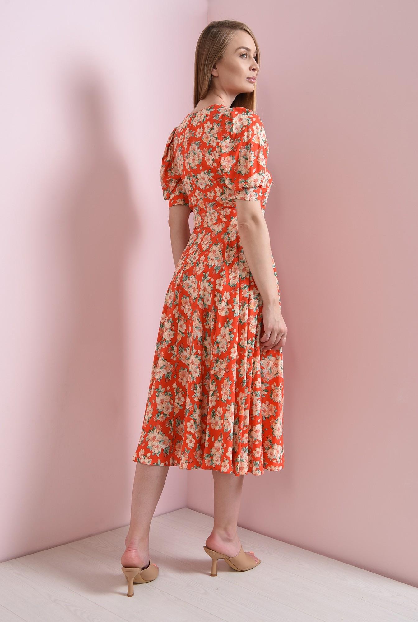 1 - rochie rosie, cu flori, evazata, Poema