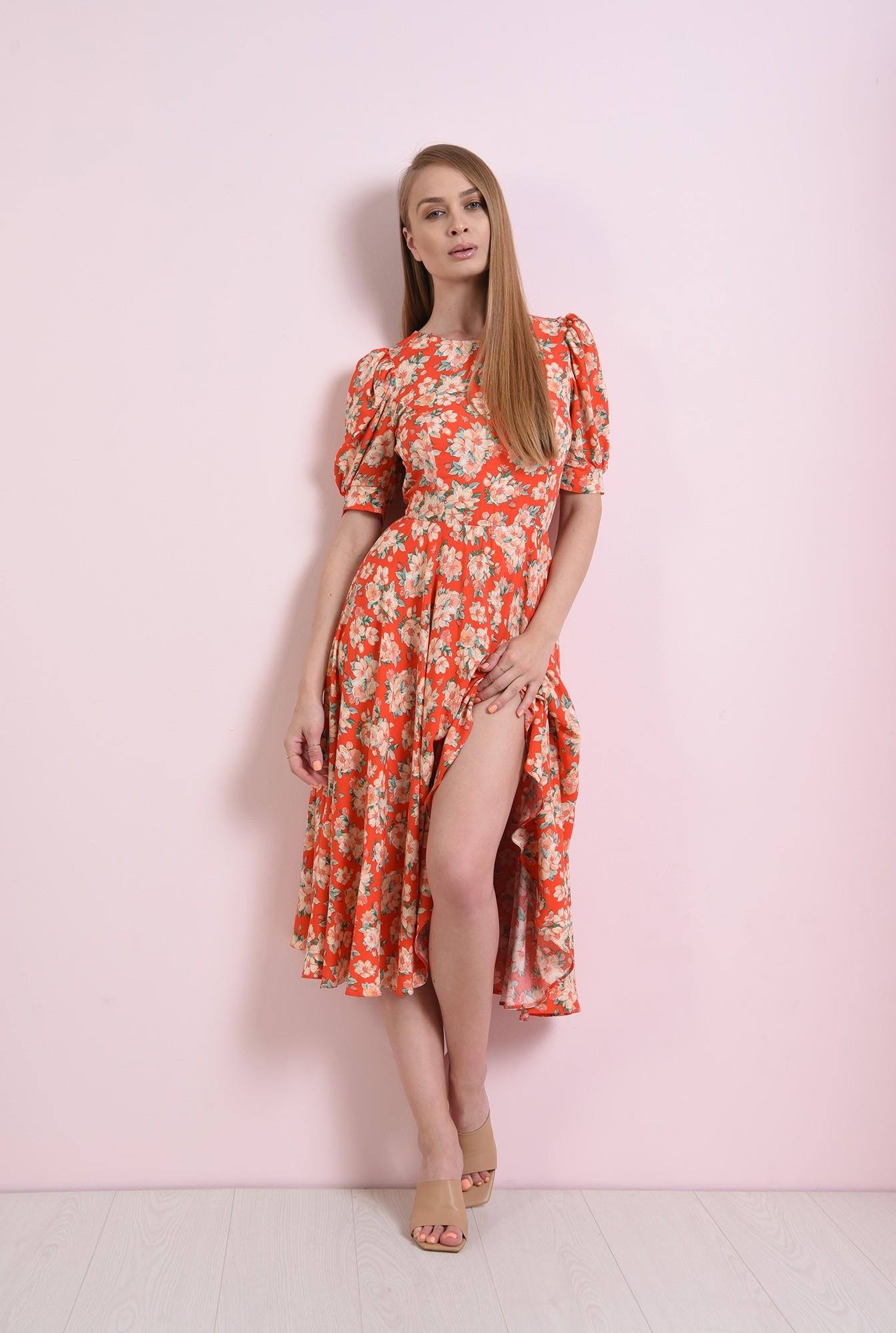 0 - rochie rosie, cu flori, evazata, Poema