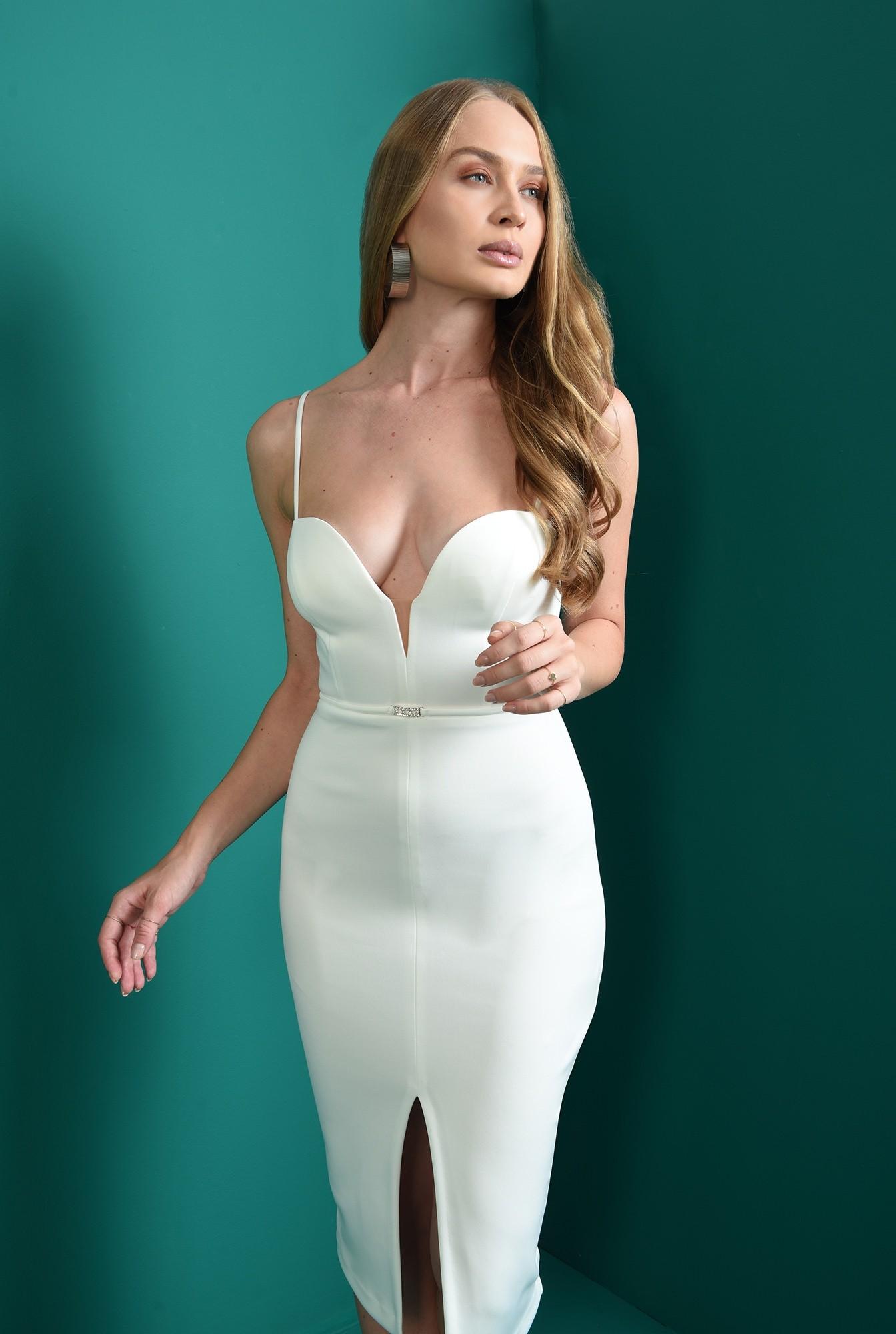 1 - rochie cu accesoriu, midi, conica