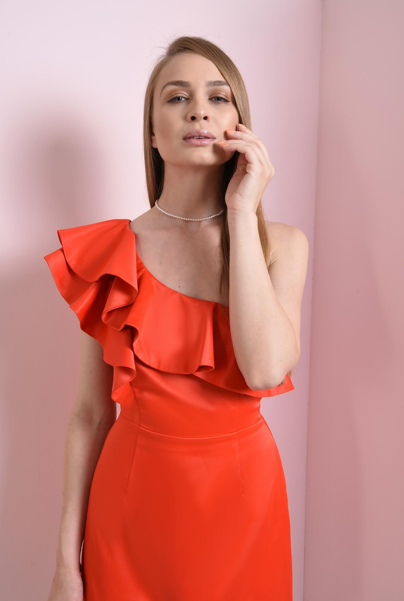 1 - rochie eleganta, cu volane, pe un umar
