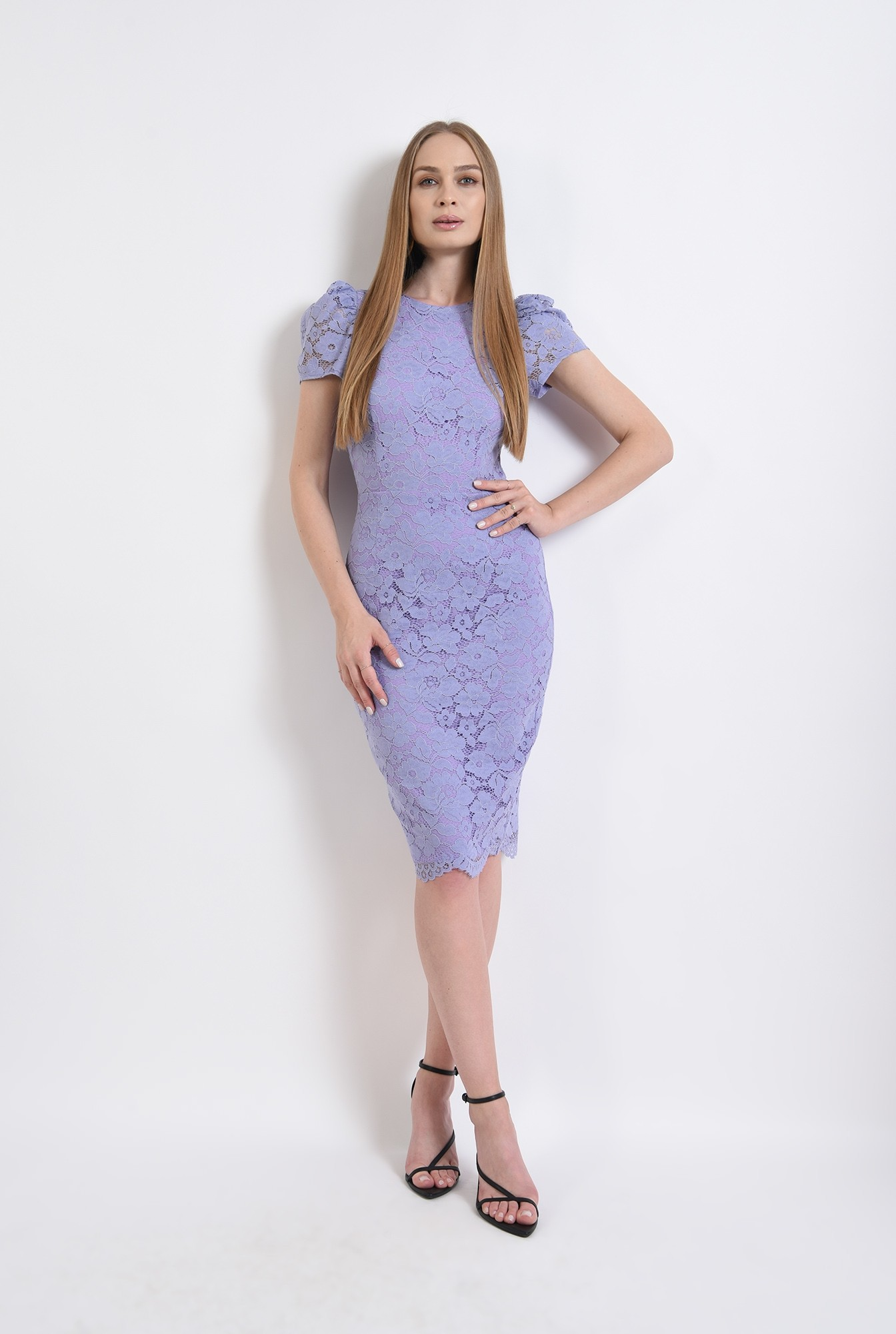 1 - rochie din dantela, eleganta, cu maneca scurta