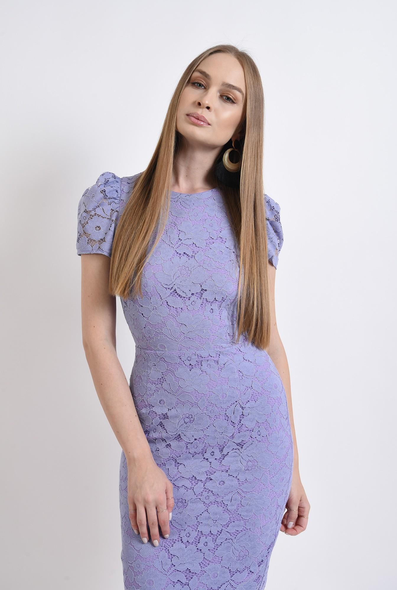 0 - rochie din dantela, eleganta, cu maneca scurta