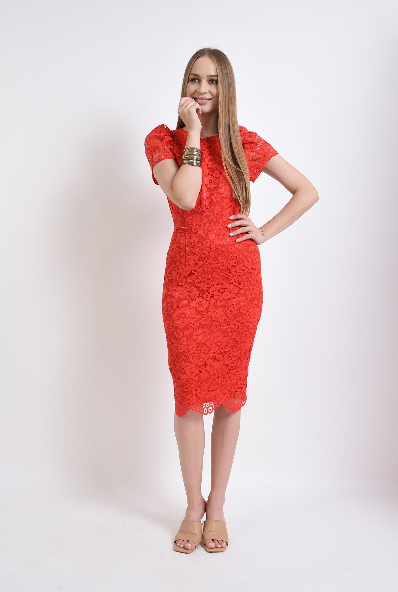 0 - rochie rosie, din dantela, conica