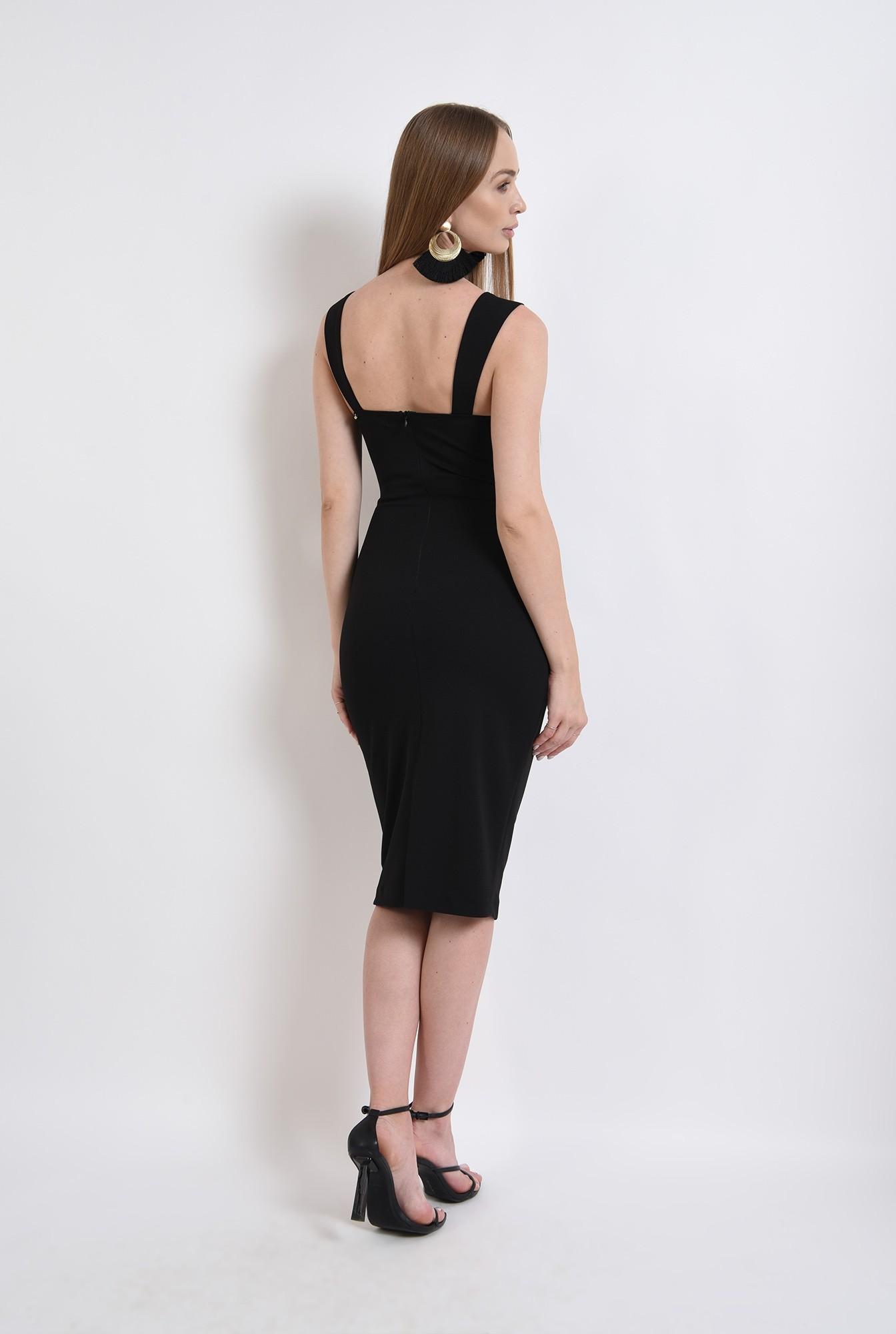 2 - rochie neagra, midi, conica, cu push-up