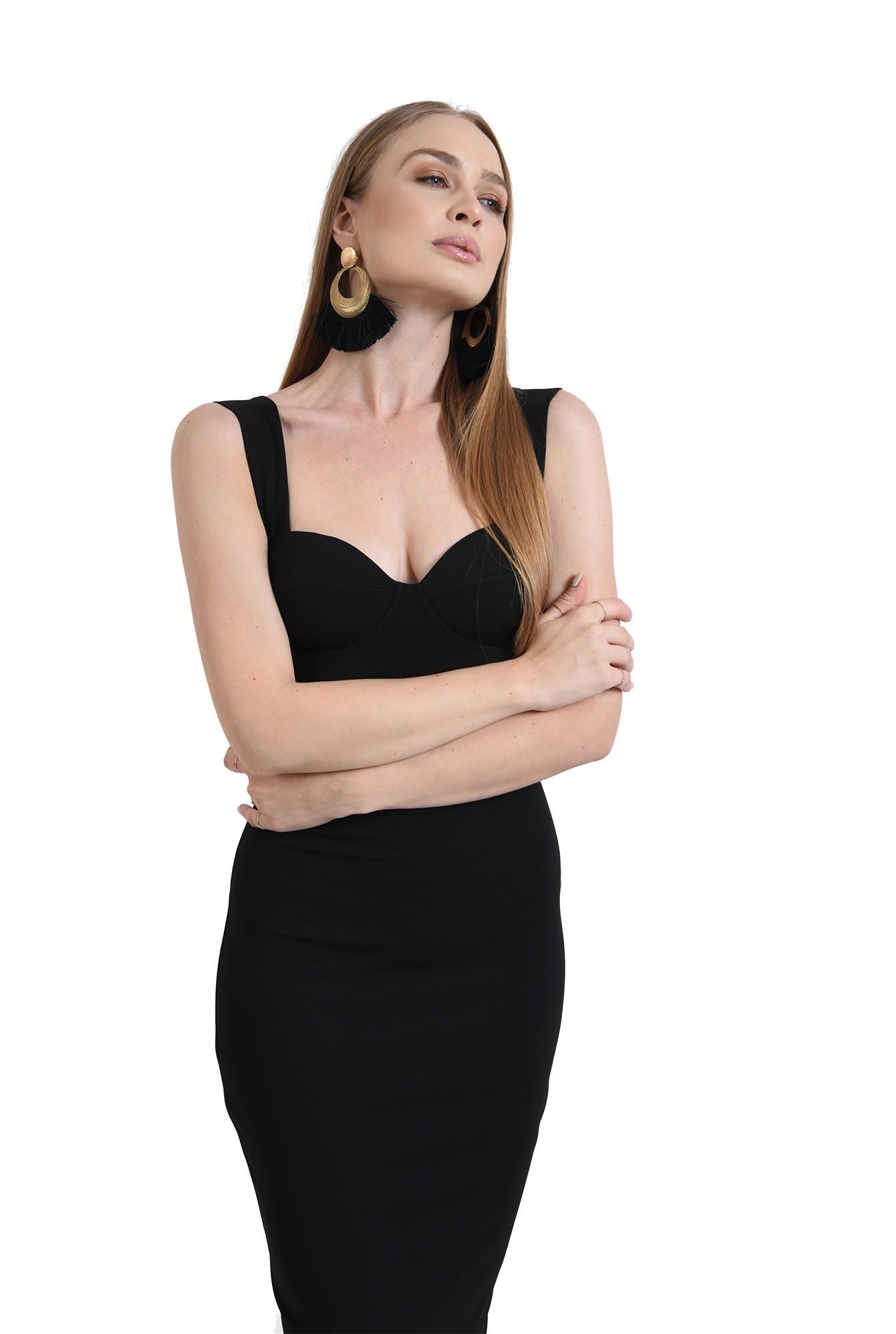 3 - rochie neagra, midi, conica, cu push-up