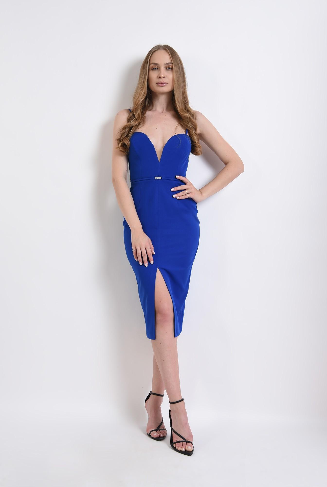 0 - rochie albastra, eleganta, cu decolteu