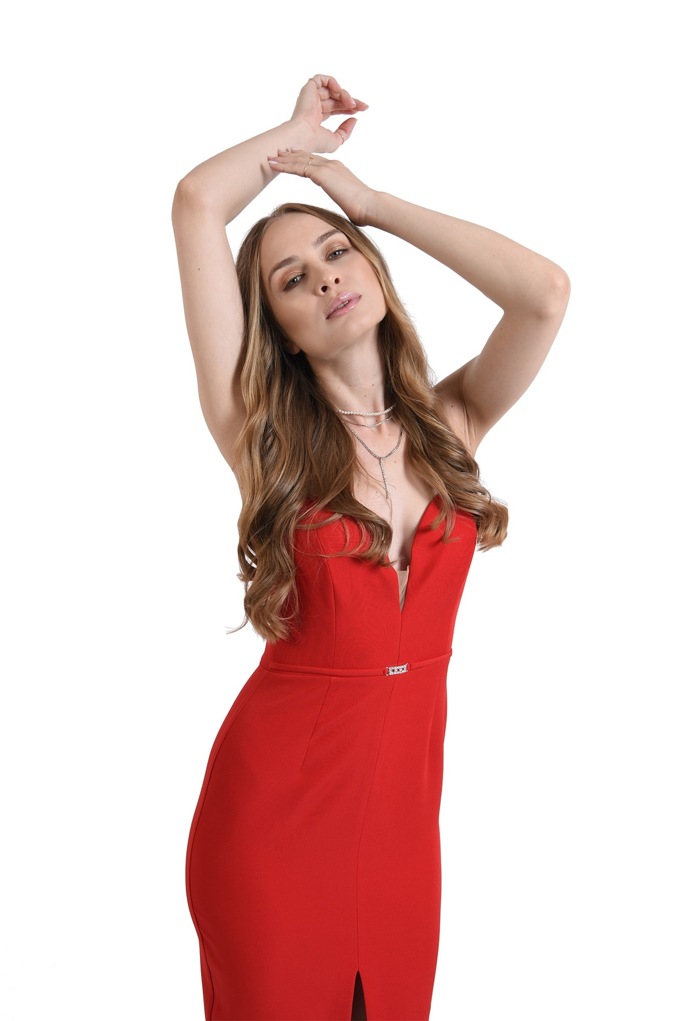 3 - rochie midi, conica, cu accesoriu