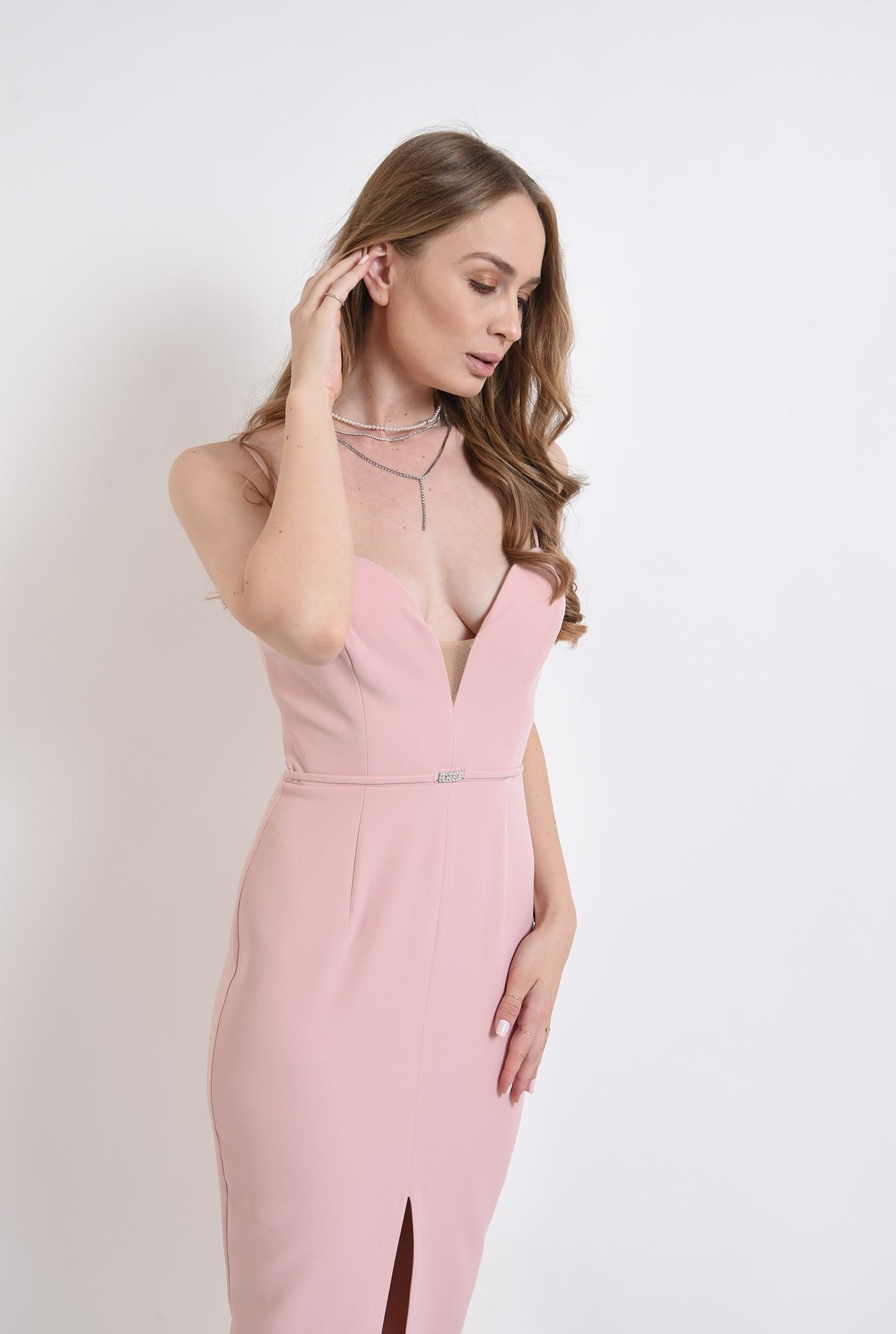1 - rochie roz, de seara, cu accesoriu