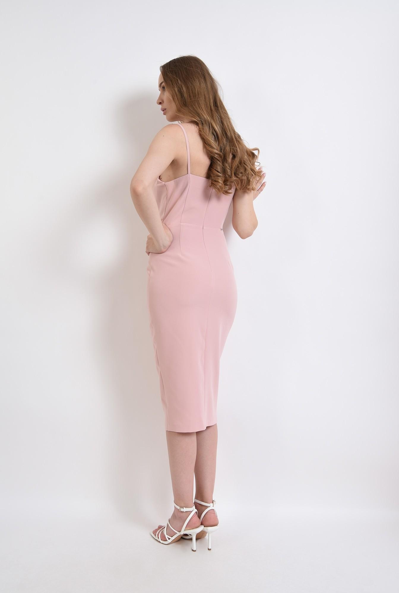 2 - rochie roz, de seara, cu accesoriu