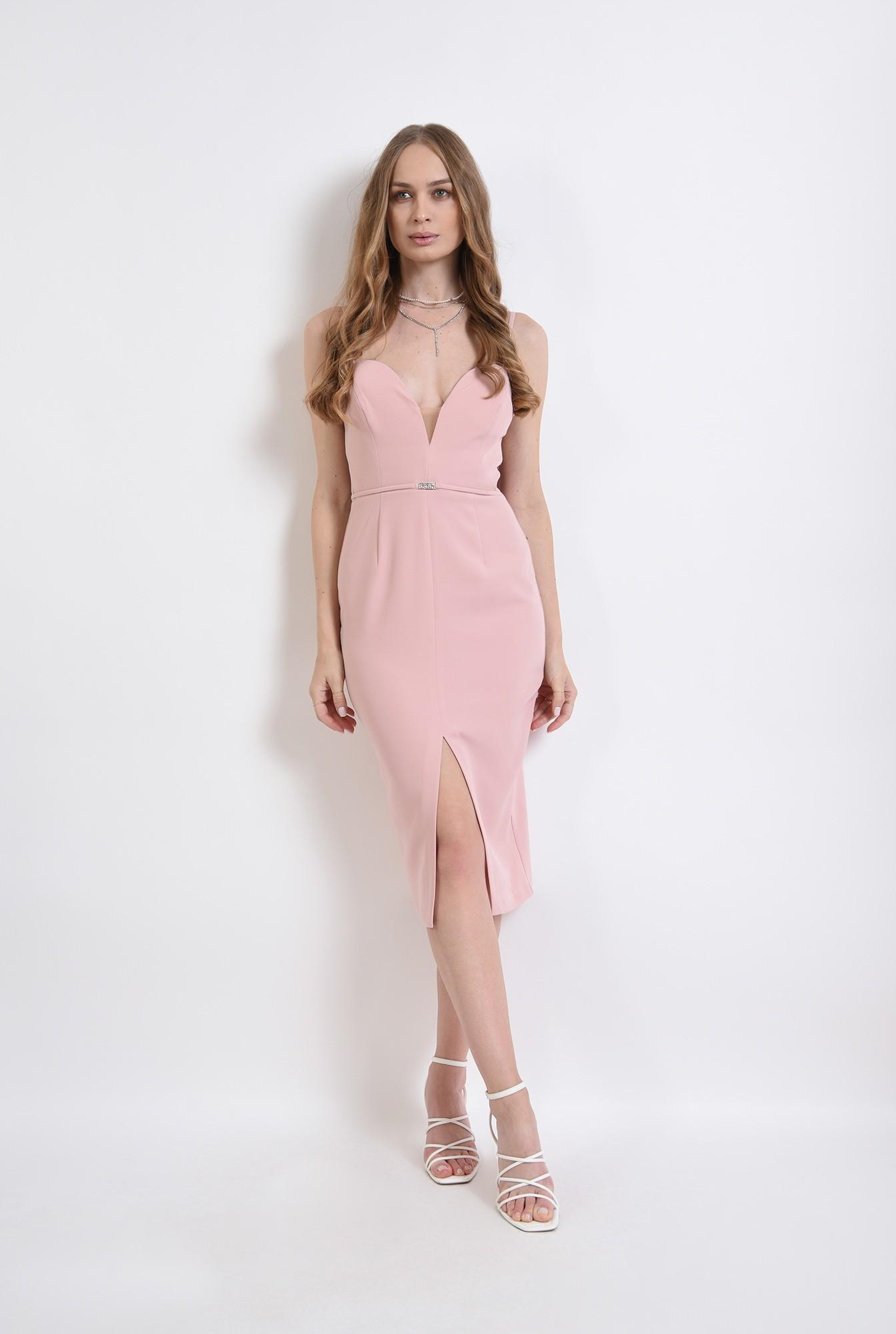 0 - rochie roz, de seara, cu accesoriu