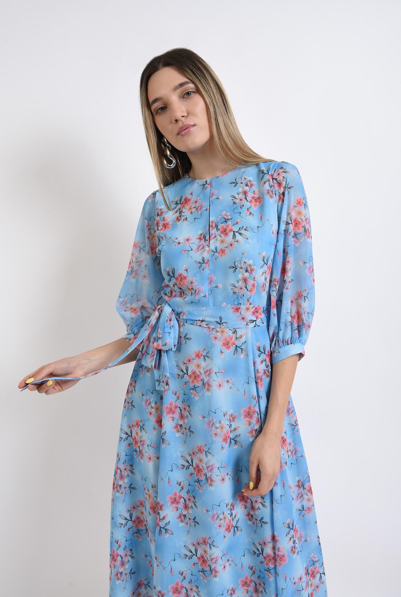 2 - rochie eleganta, poema, bleu, cu flori, midi