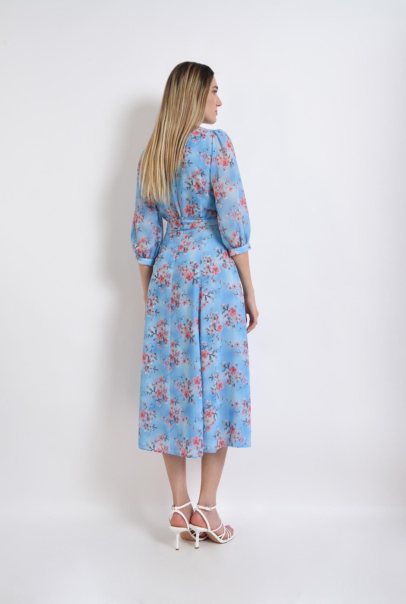 1 - rochie eleganta, poema, bleu, cu flori, midi