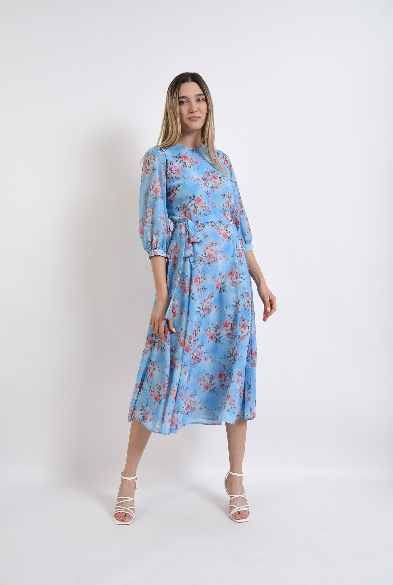 3 - rochie eleganta, poema, bleu, cu flori, midi