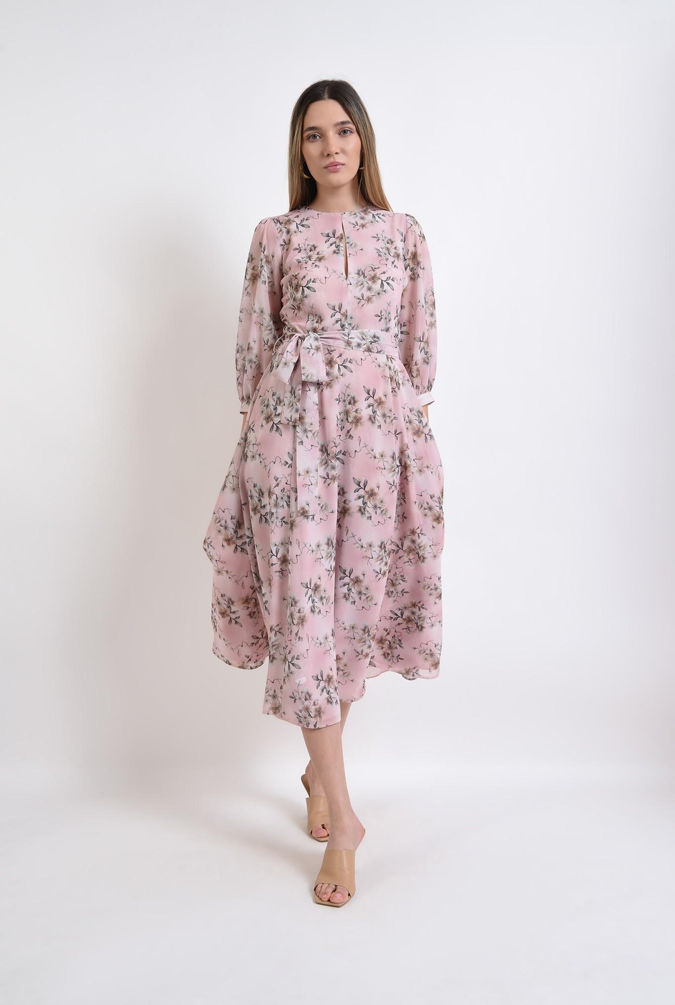 0 - rochie midi, evazata, roz, florala, eleganta