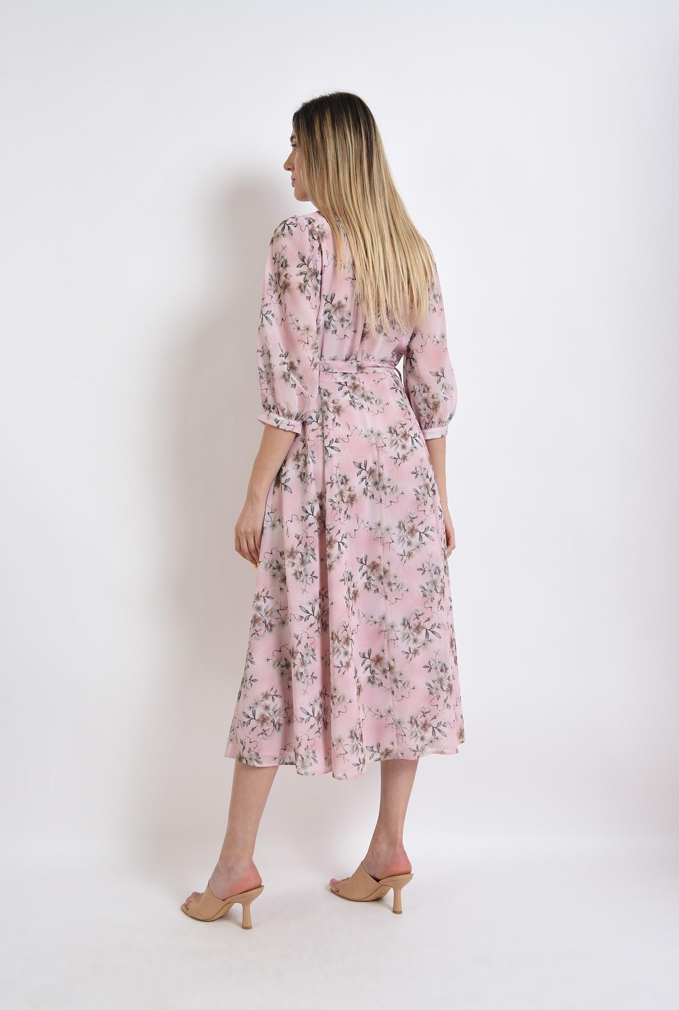 1 - rochie midi, evazata, roz, florala, eleganta