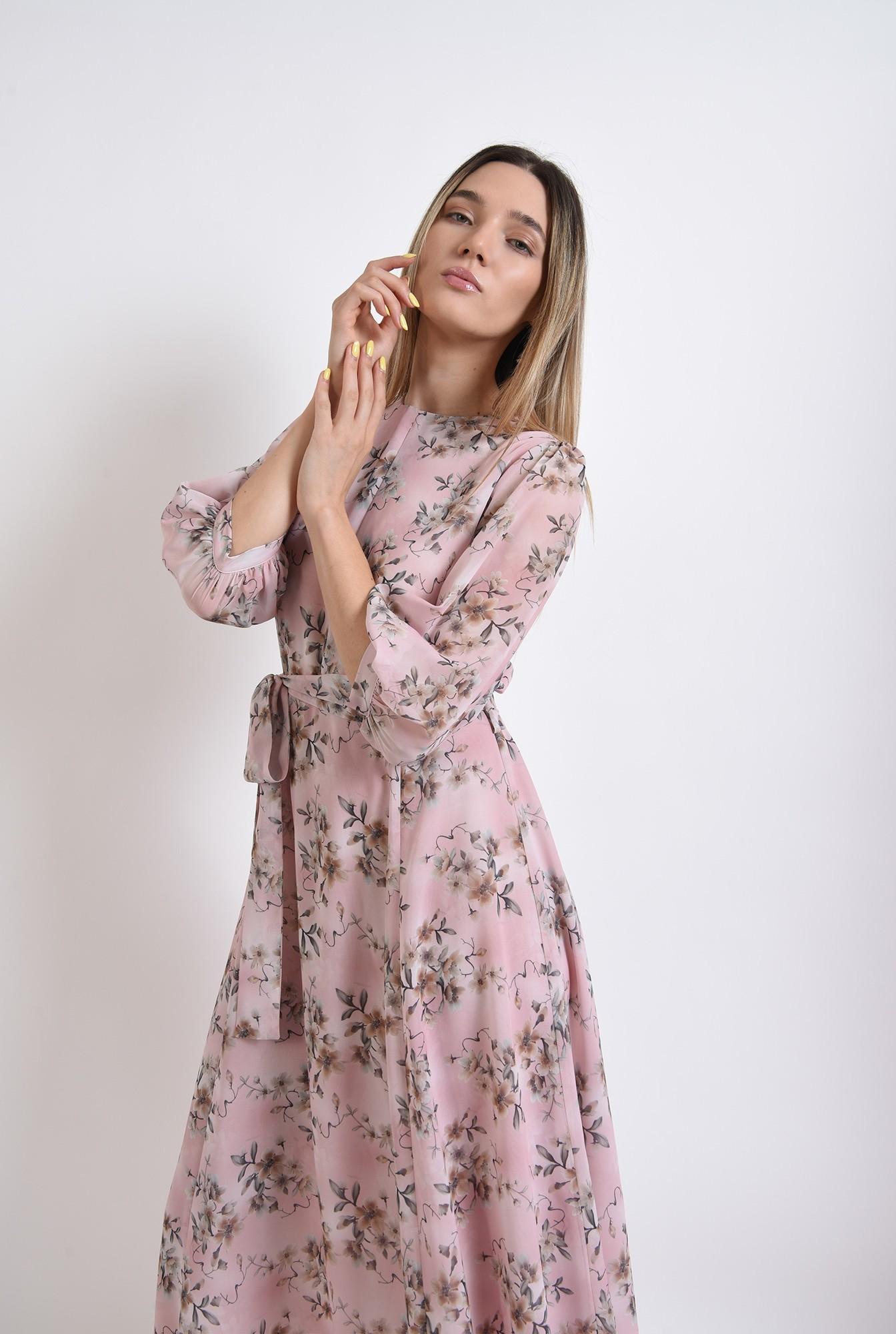 2 - rochie midi, evazata, roz, florala, eleganta