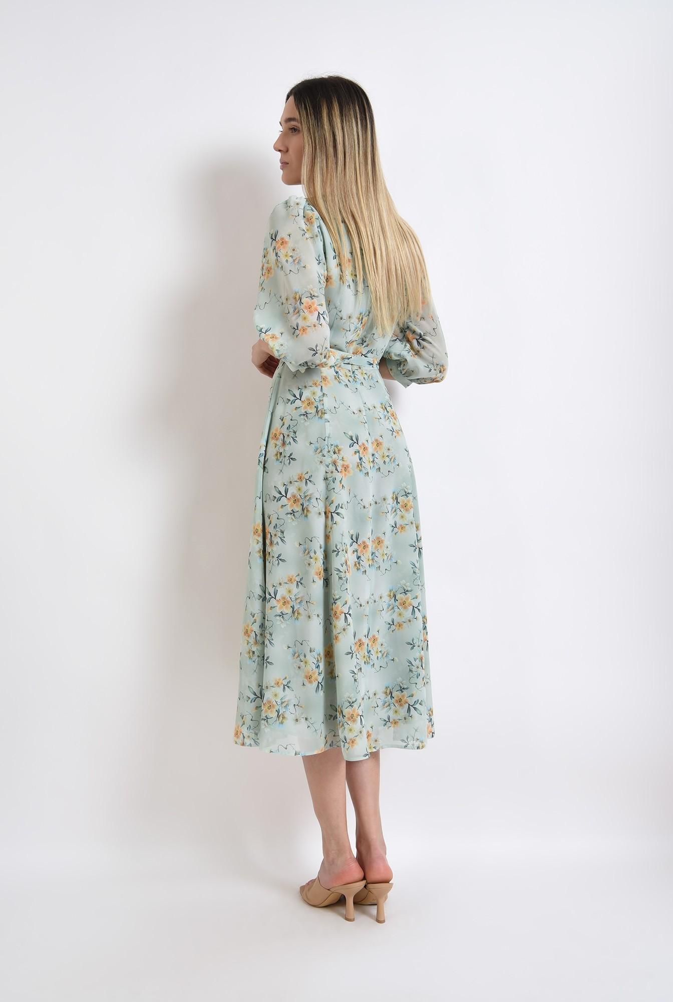 1 - rochie eleganta, verde, pastel, cu flori, poema, evazata