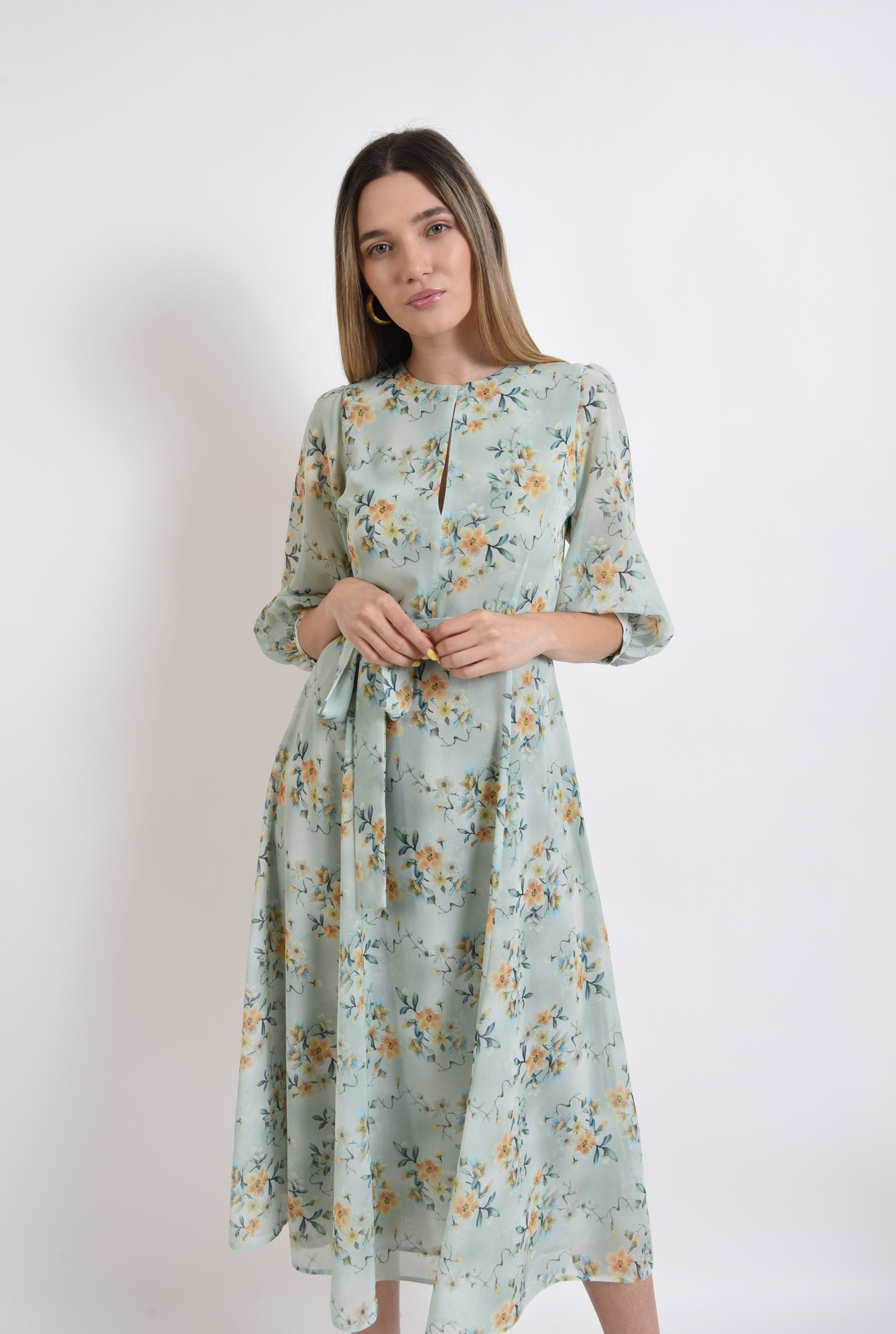 0 - rochie eleganta, verde, pastel, cu flori, poema, evazata