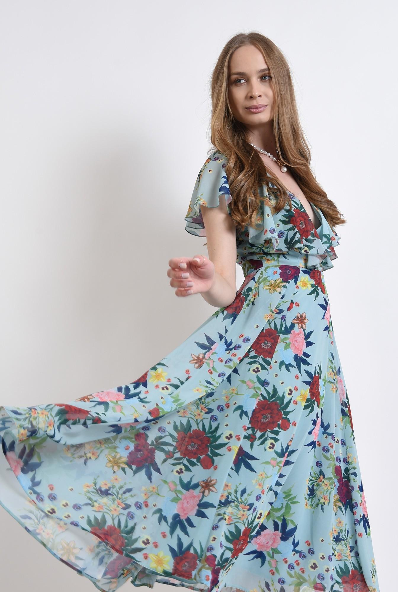 2 - rochie eleganta, cu print, cu volane, Poema