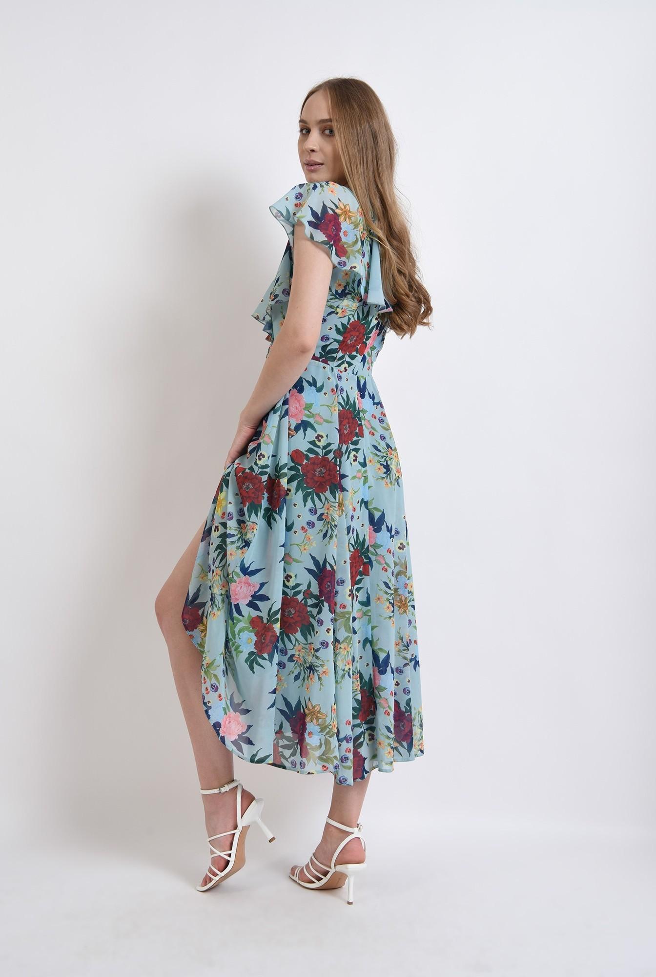 1 - rochie eleganta, cu print, cu volane, Poema