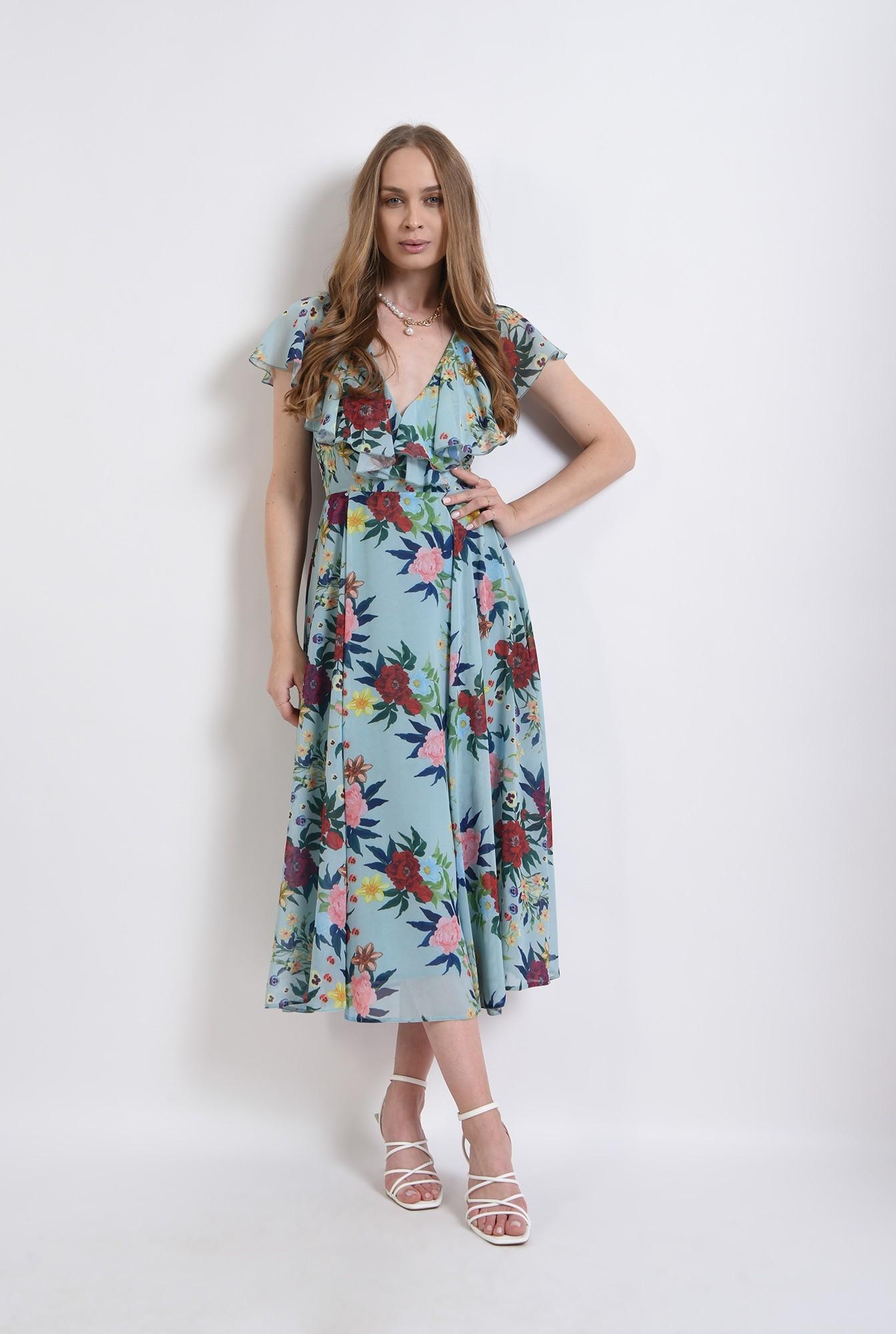 0 - rochie eleganta, cu print, cu volane, Poema